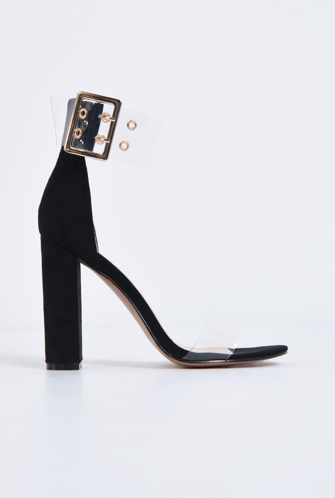 0 - sandale dama, toc gros, capse, auriu