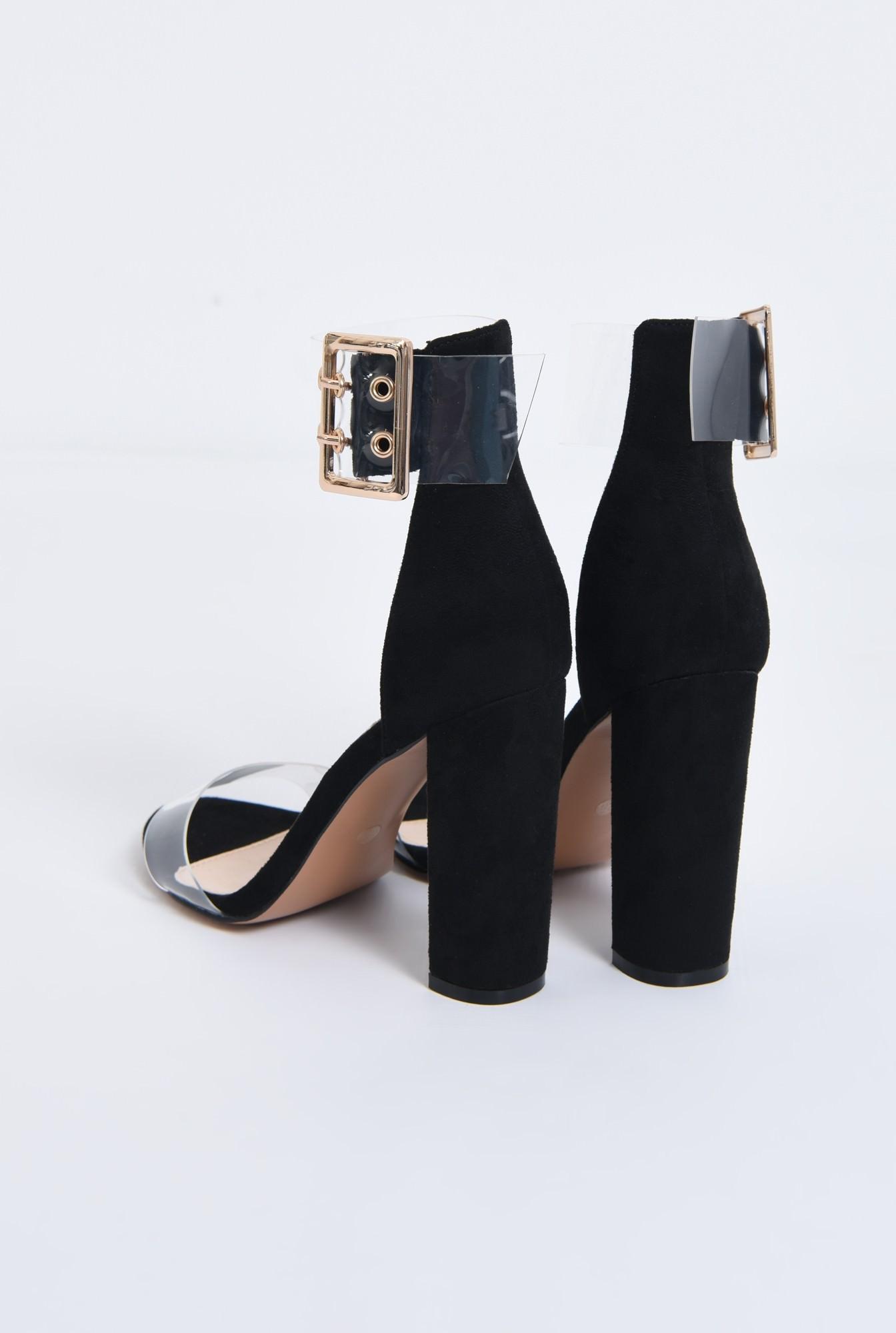 4 - sandale dama, toc gros, capse, auriu