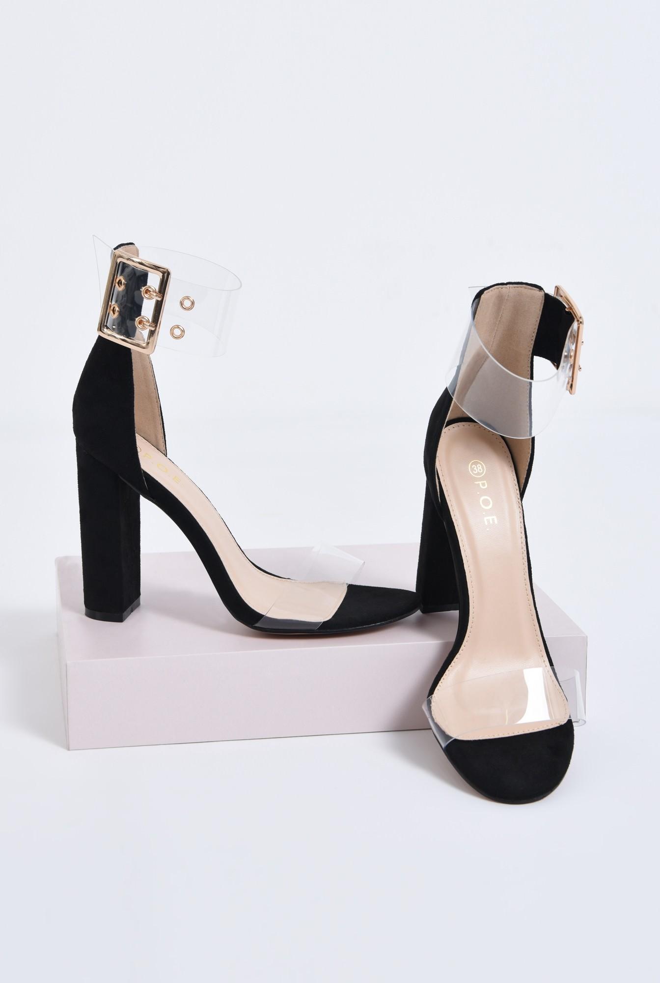 3 - sandale dama, toc gros, capse, auriu