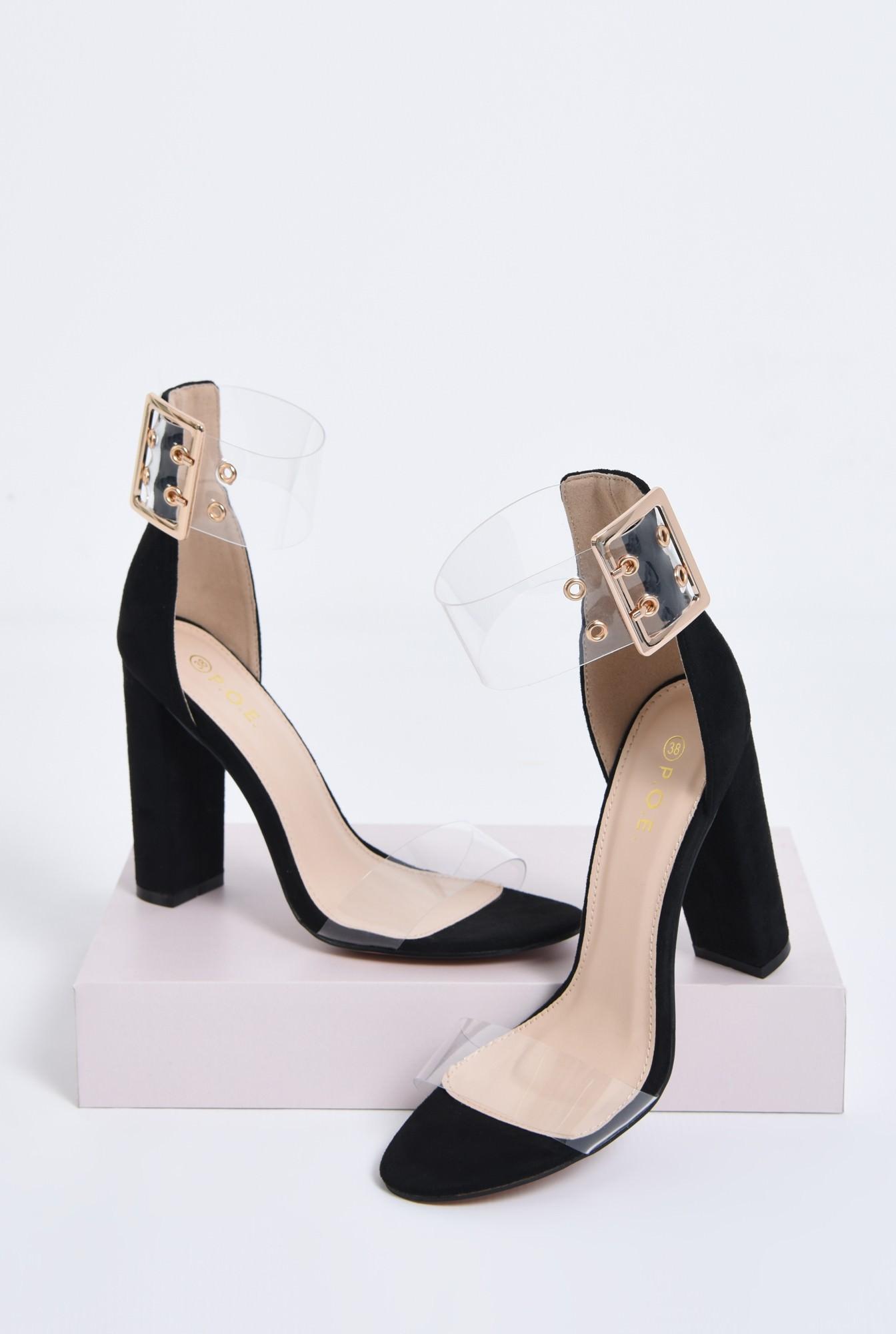 2 - sandale dama, toc gros, capse, auriu
