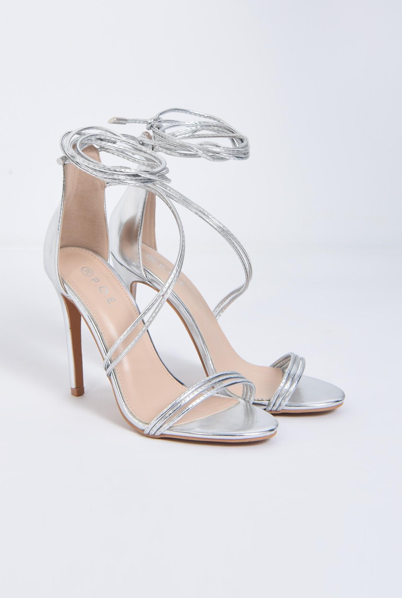 2 - sandale de ocazie, argintiu, metalizat, toc inalt