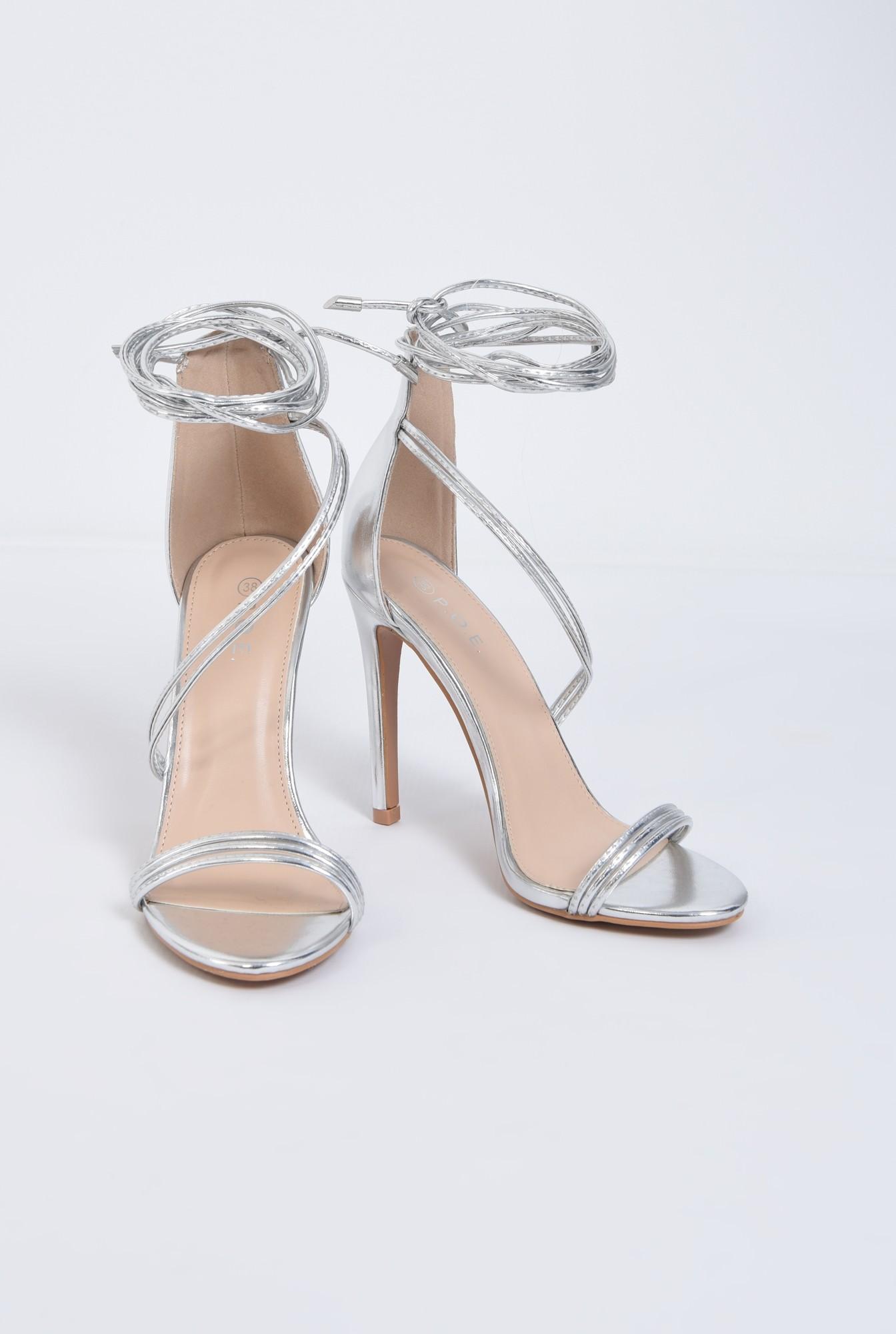 3 - sandale de ocazie, argintiu, metalizat, toc inalt