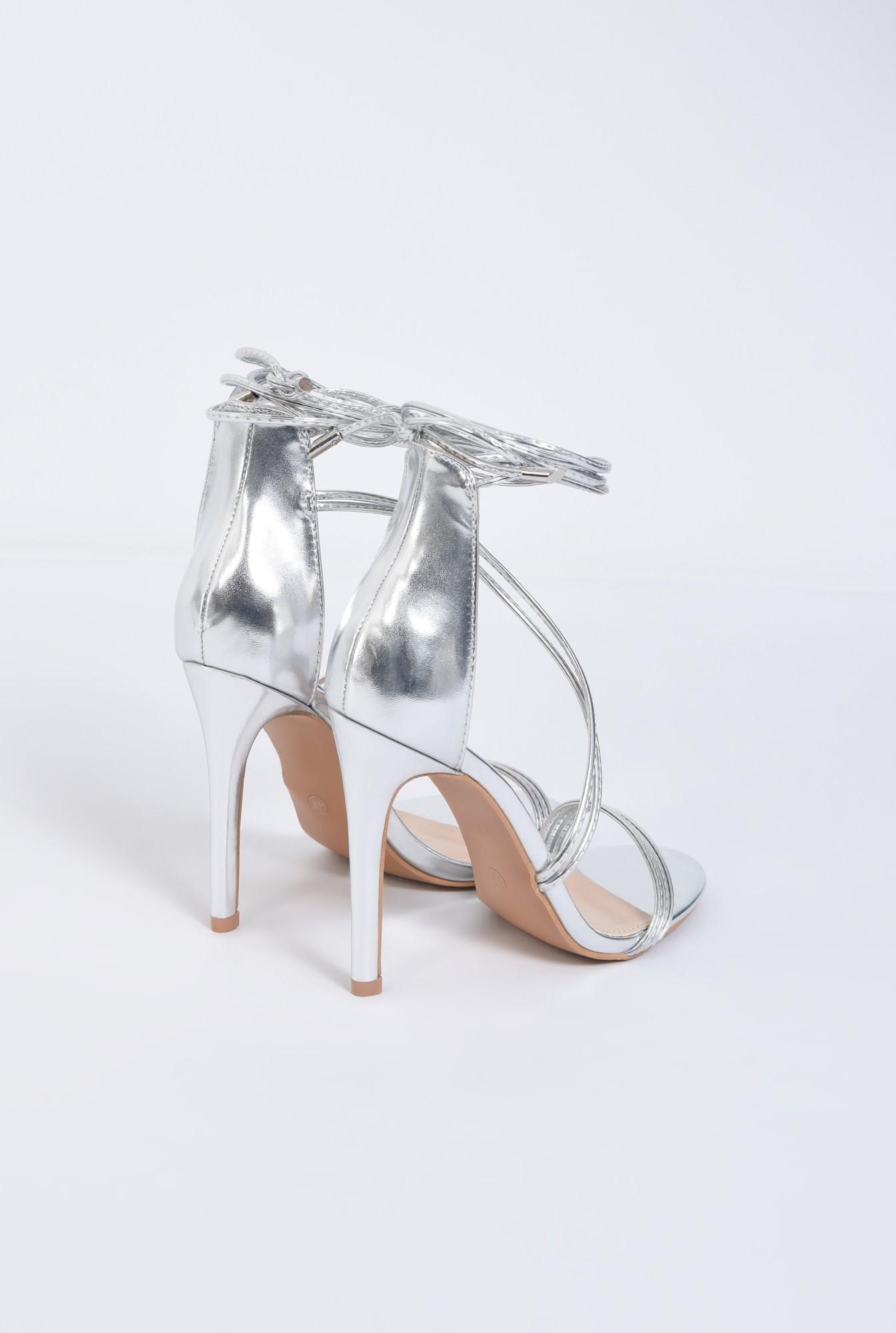 4 - sandale de ocazie, argintiu, metalizat, toc inalt