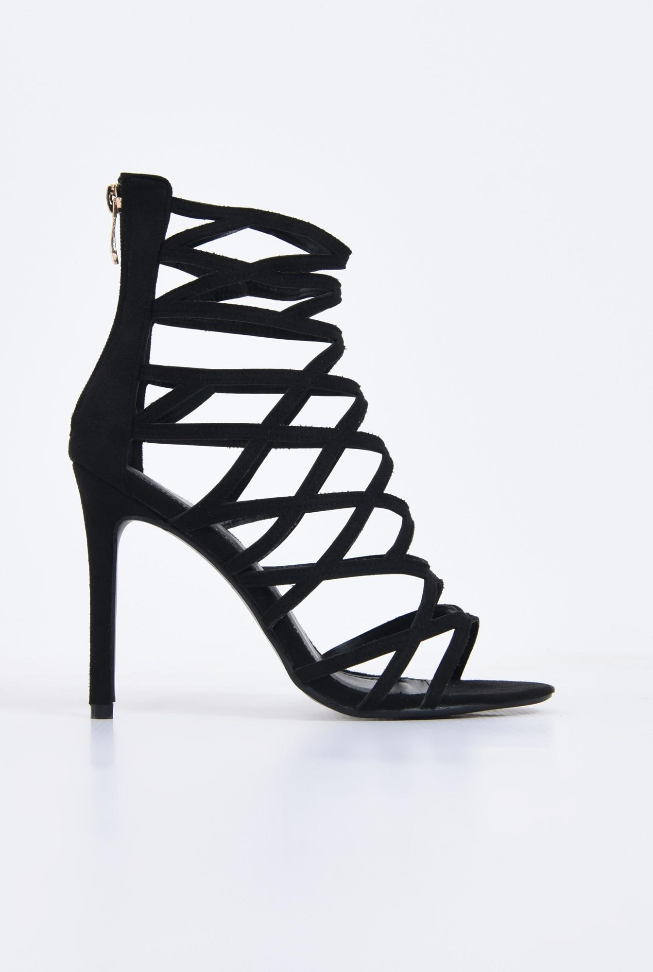 0 - sandale elegante, negru, stiletto
