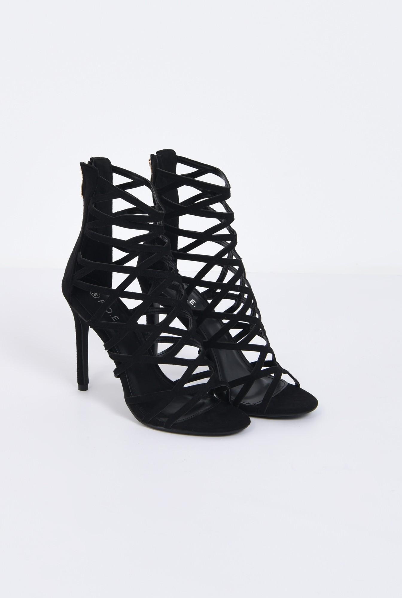 1 - sandale elegante, negru, stiletto