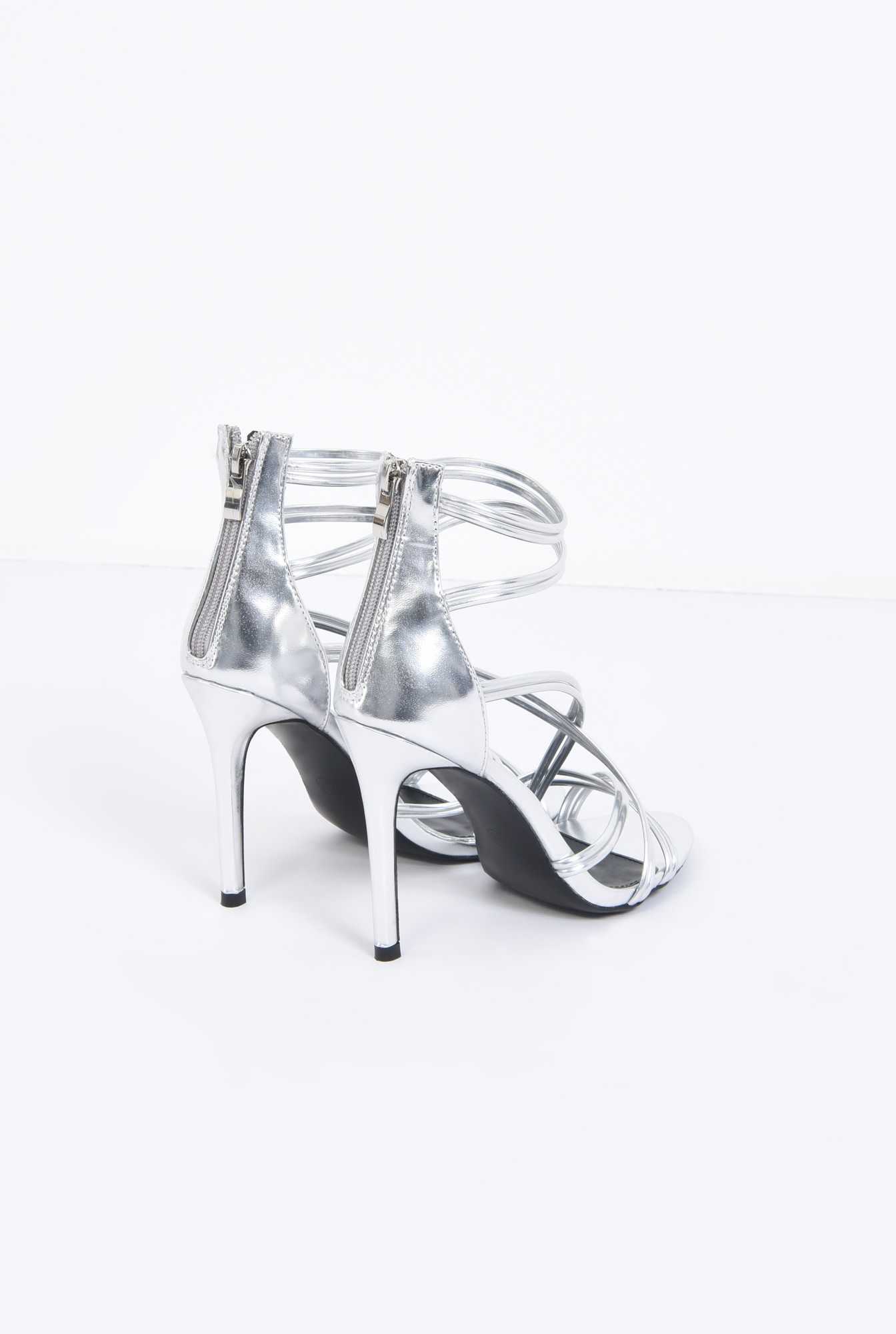 2 - sandale elegante, argintii, stiletto
