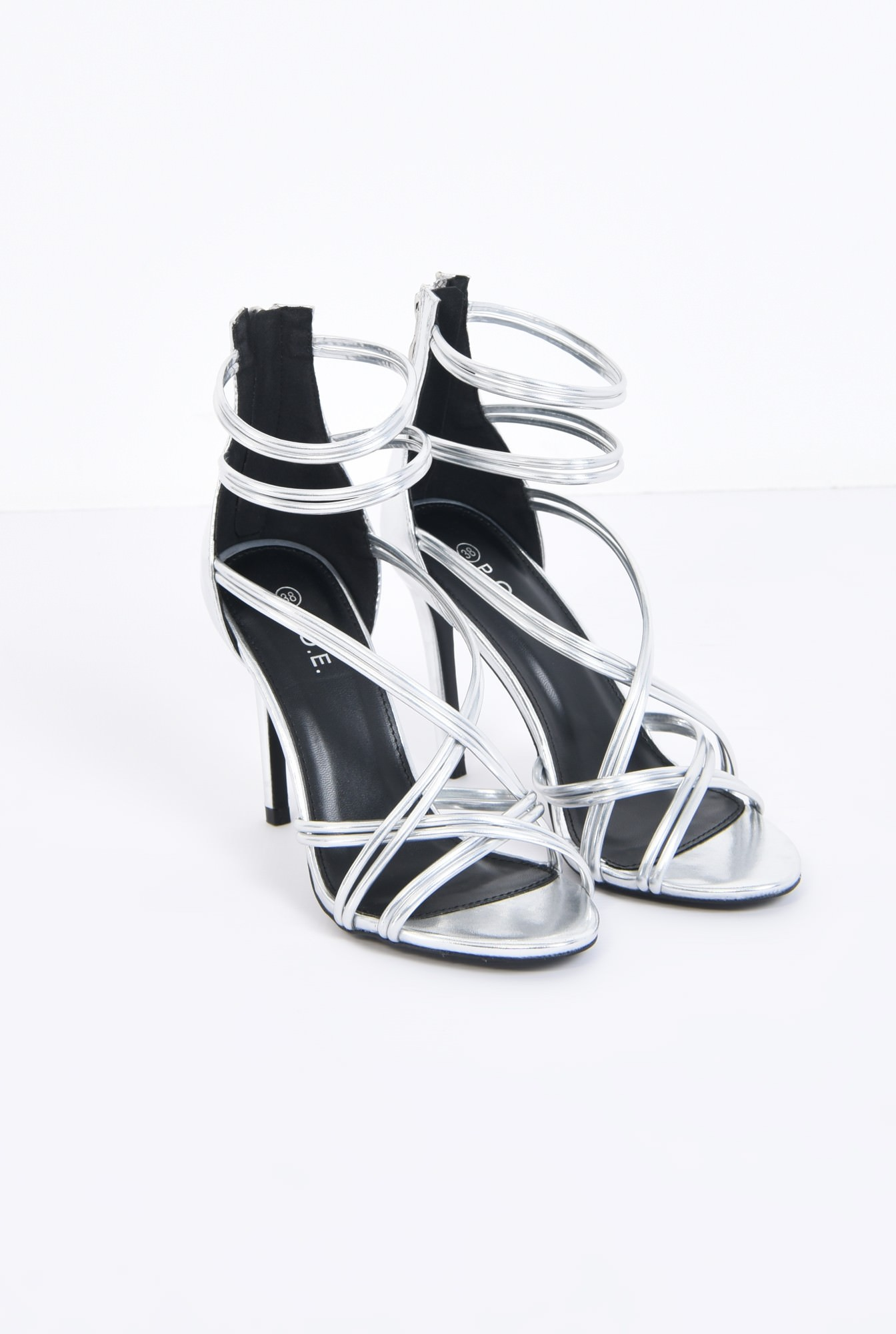 1 - sandale elegante, argintii, stiletto