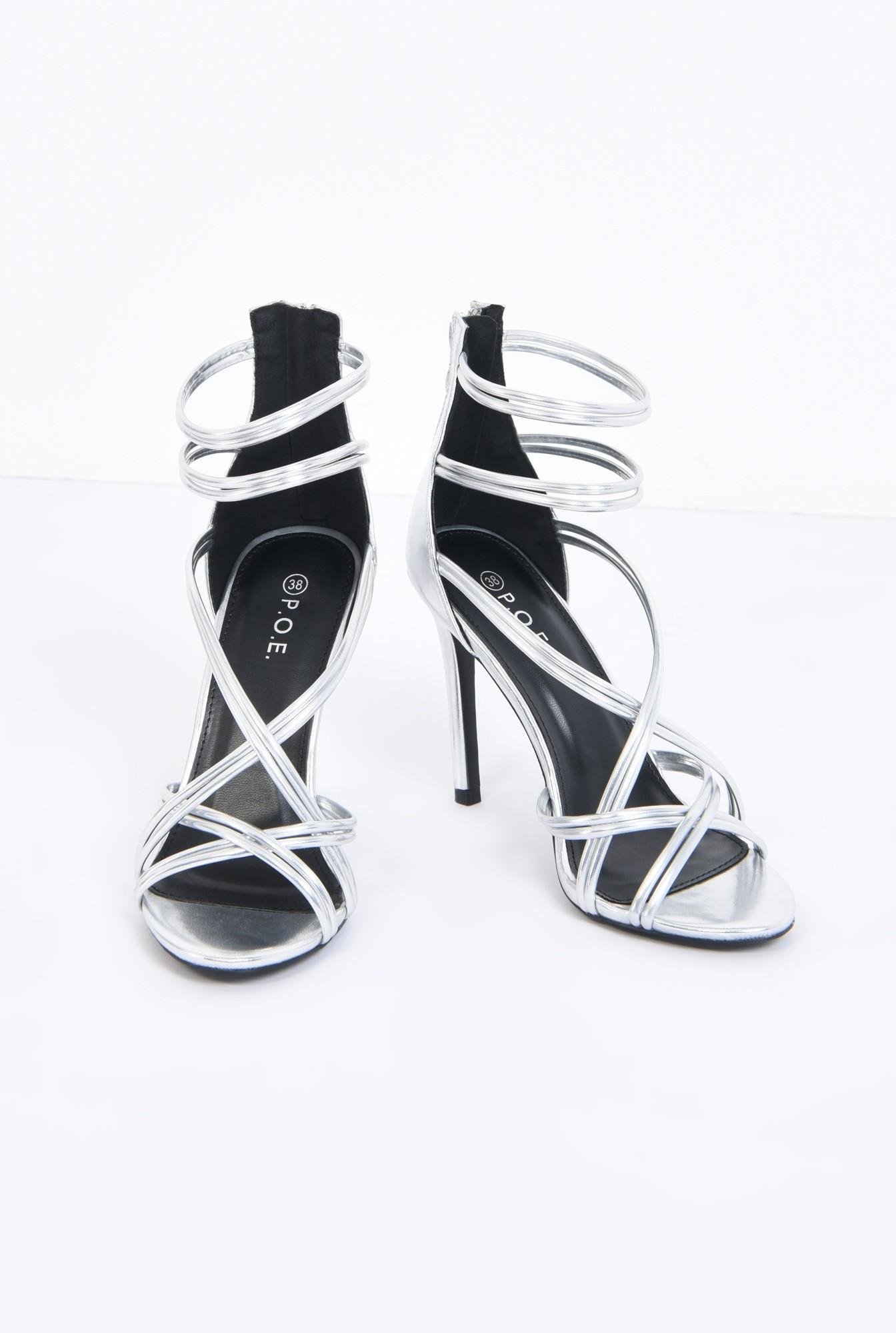 3 - sandale elegante, argintii, stiletto