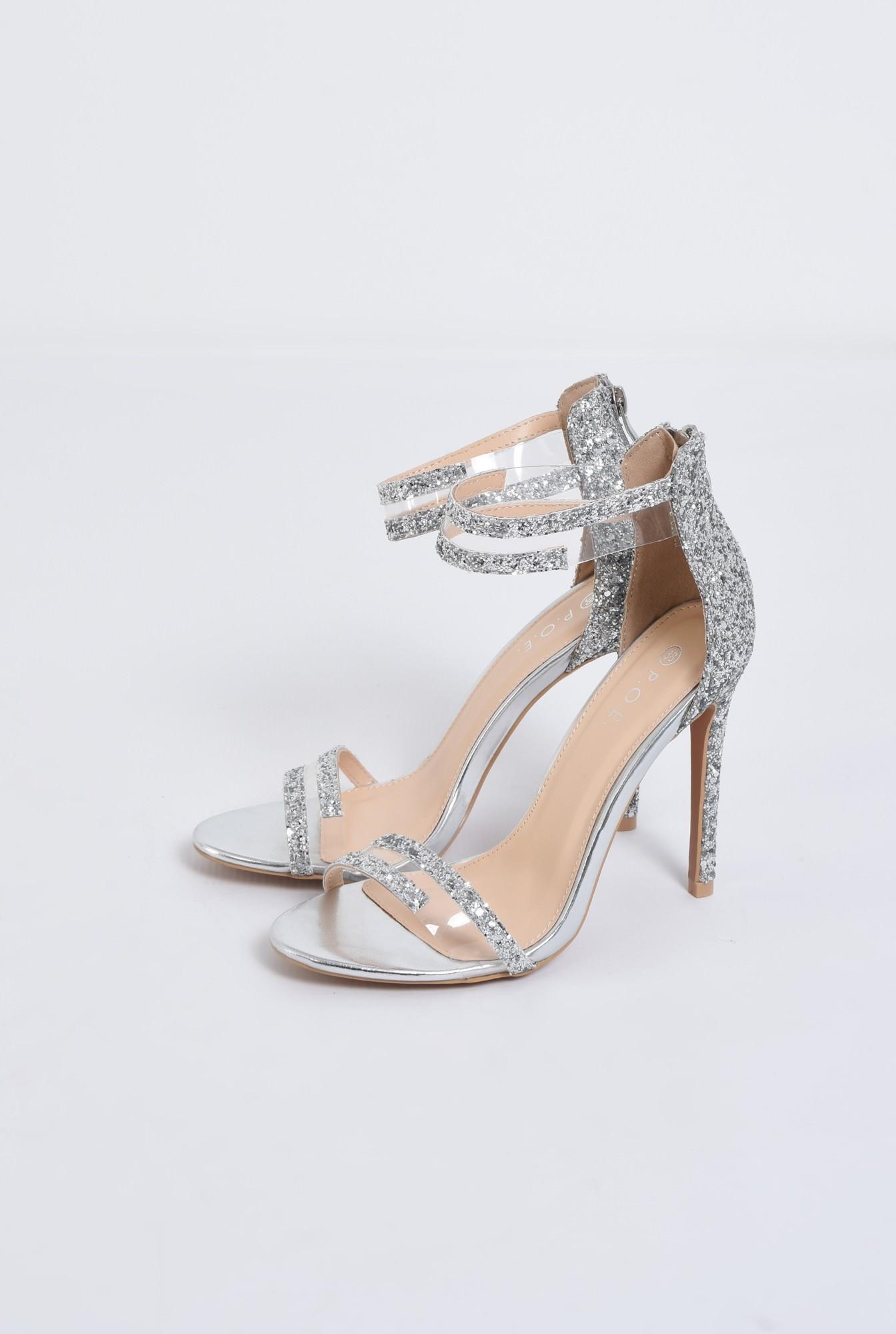 1 - sandale elegante, argintii, cu glitter, stiletto