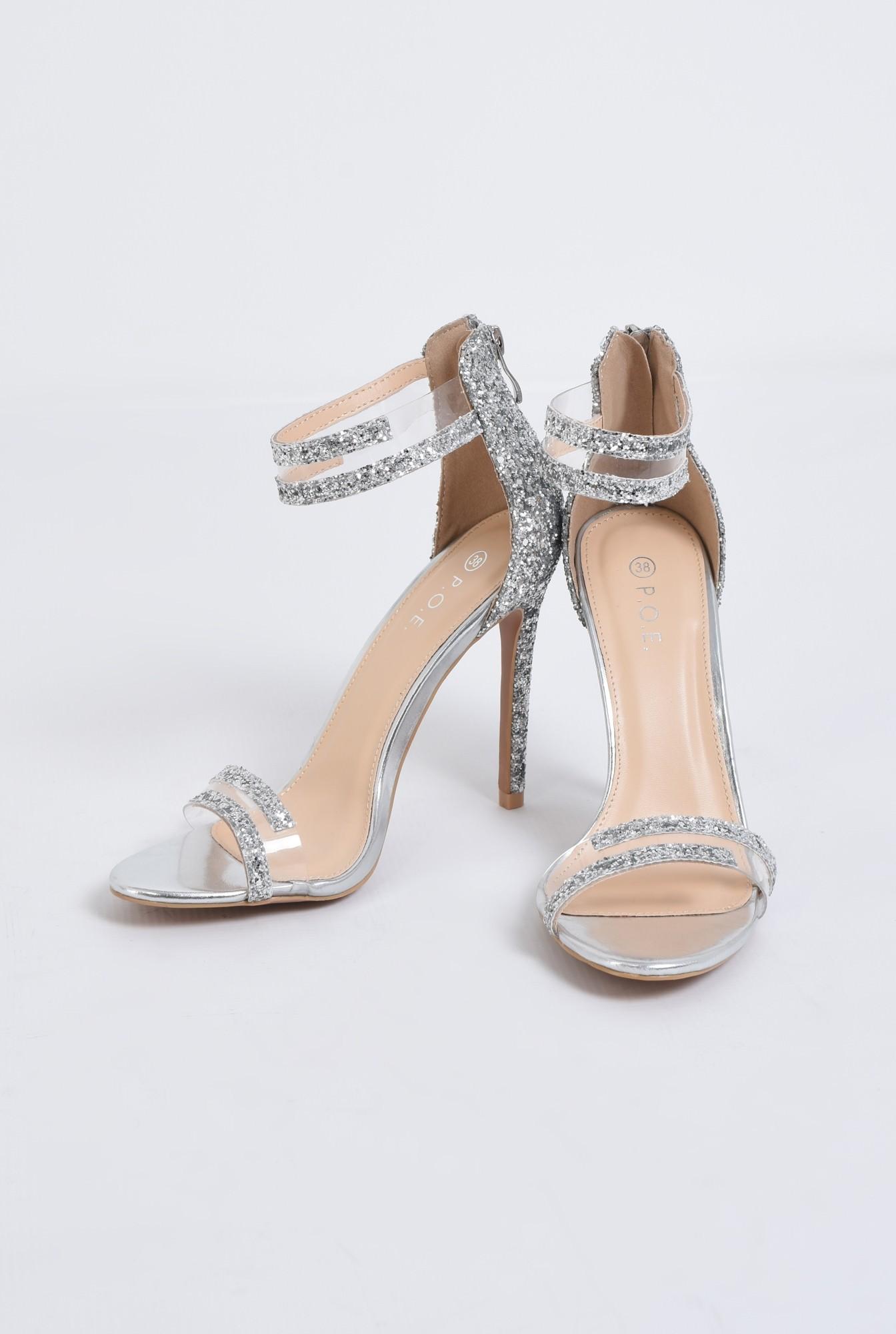 2 - sandale elegante, argintii, cu glitter, stiletto
