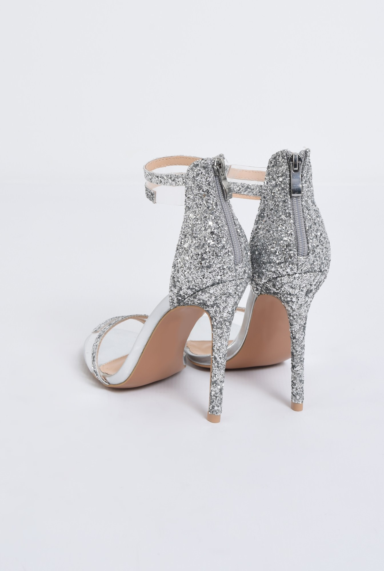 3 - sandale elegante, argintii, cu glitter, stiletto