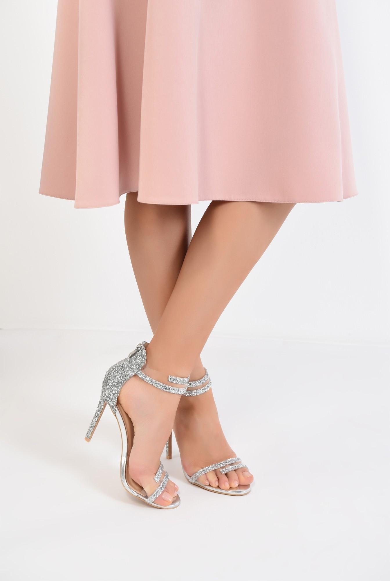 4 - sandale elegante, argintii, cu glitter, stiletto