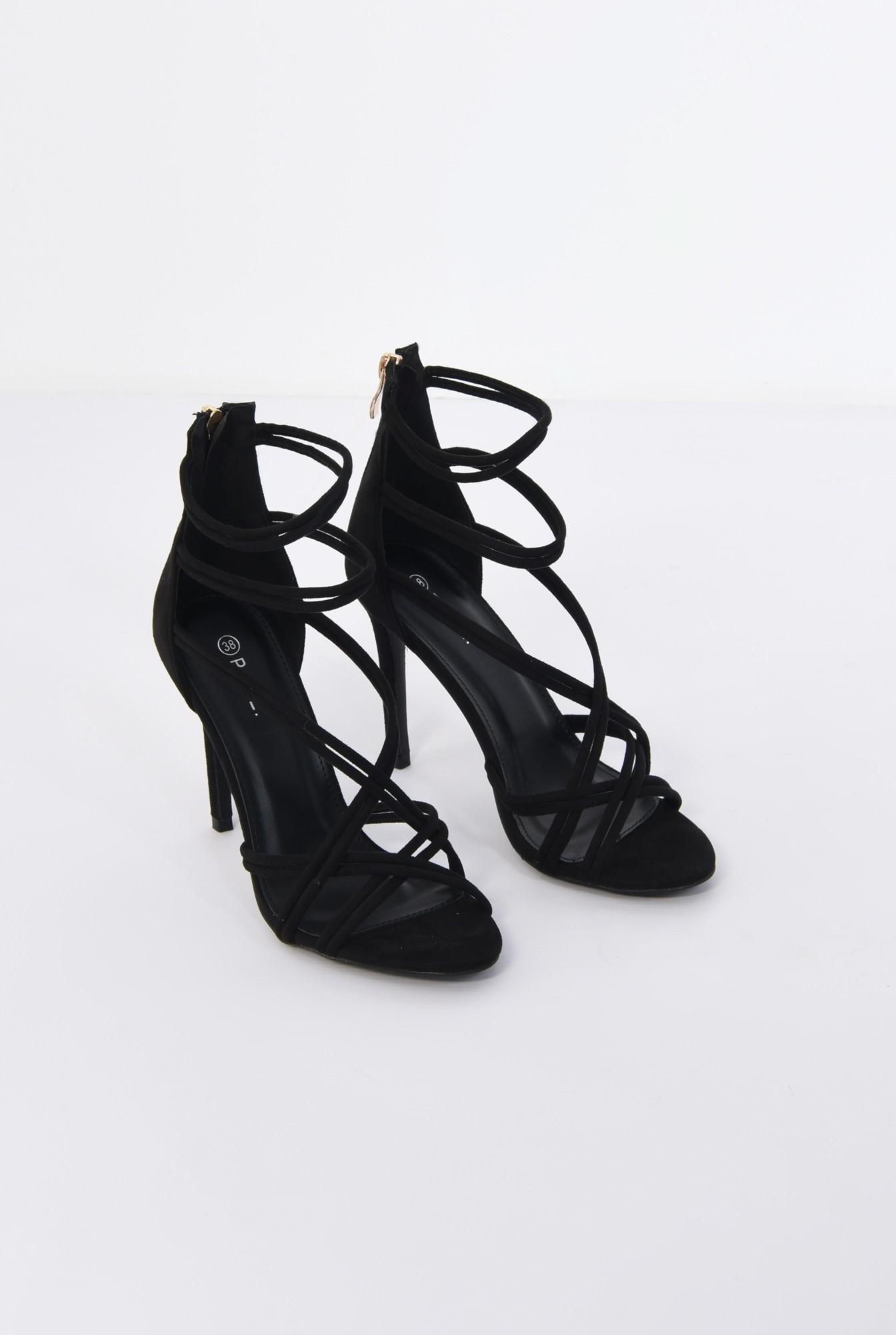 1 - sandale elegante, negre, catifea, stiletto