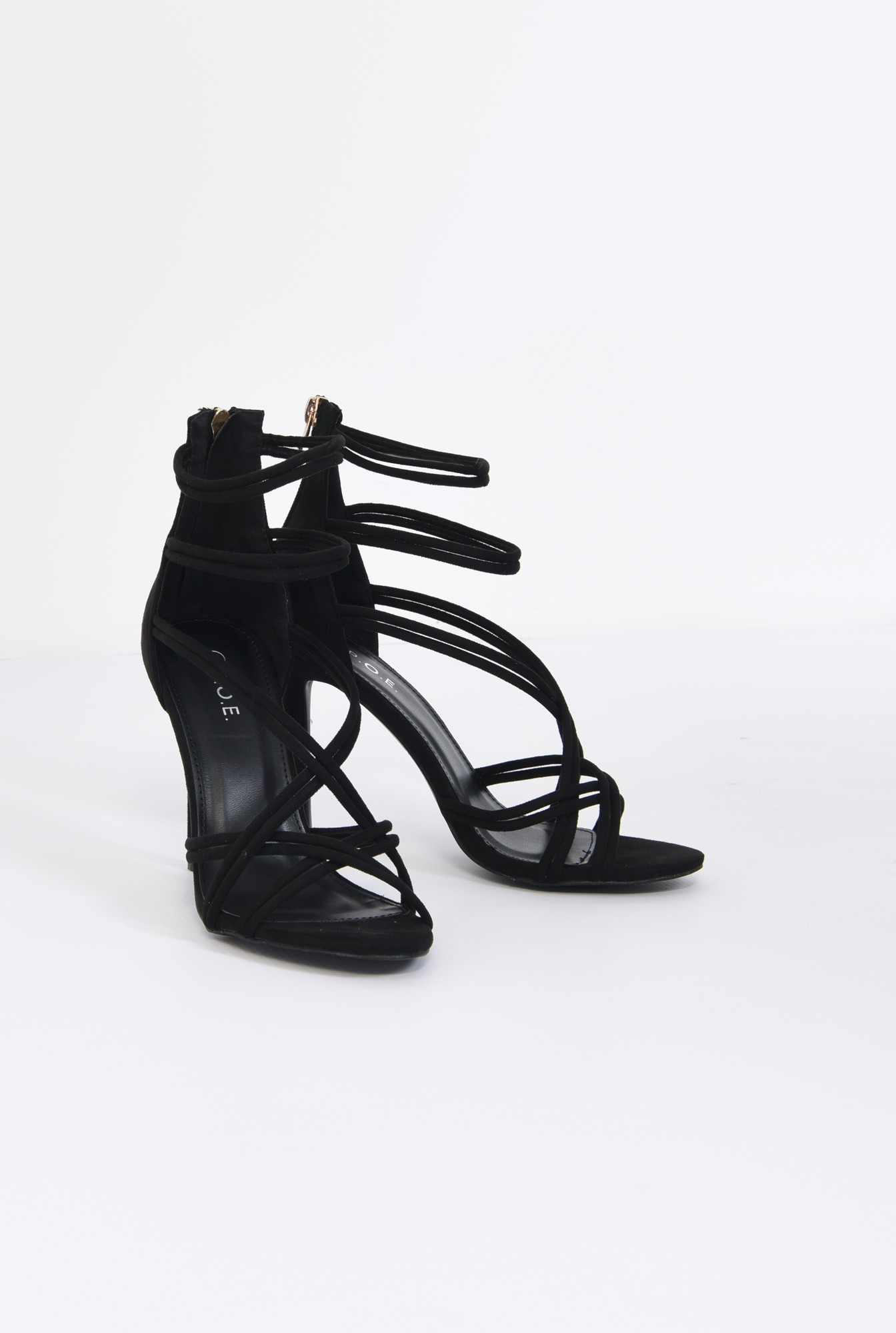 3 - sandale elegante, negre, catifea, stiletto