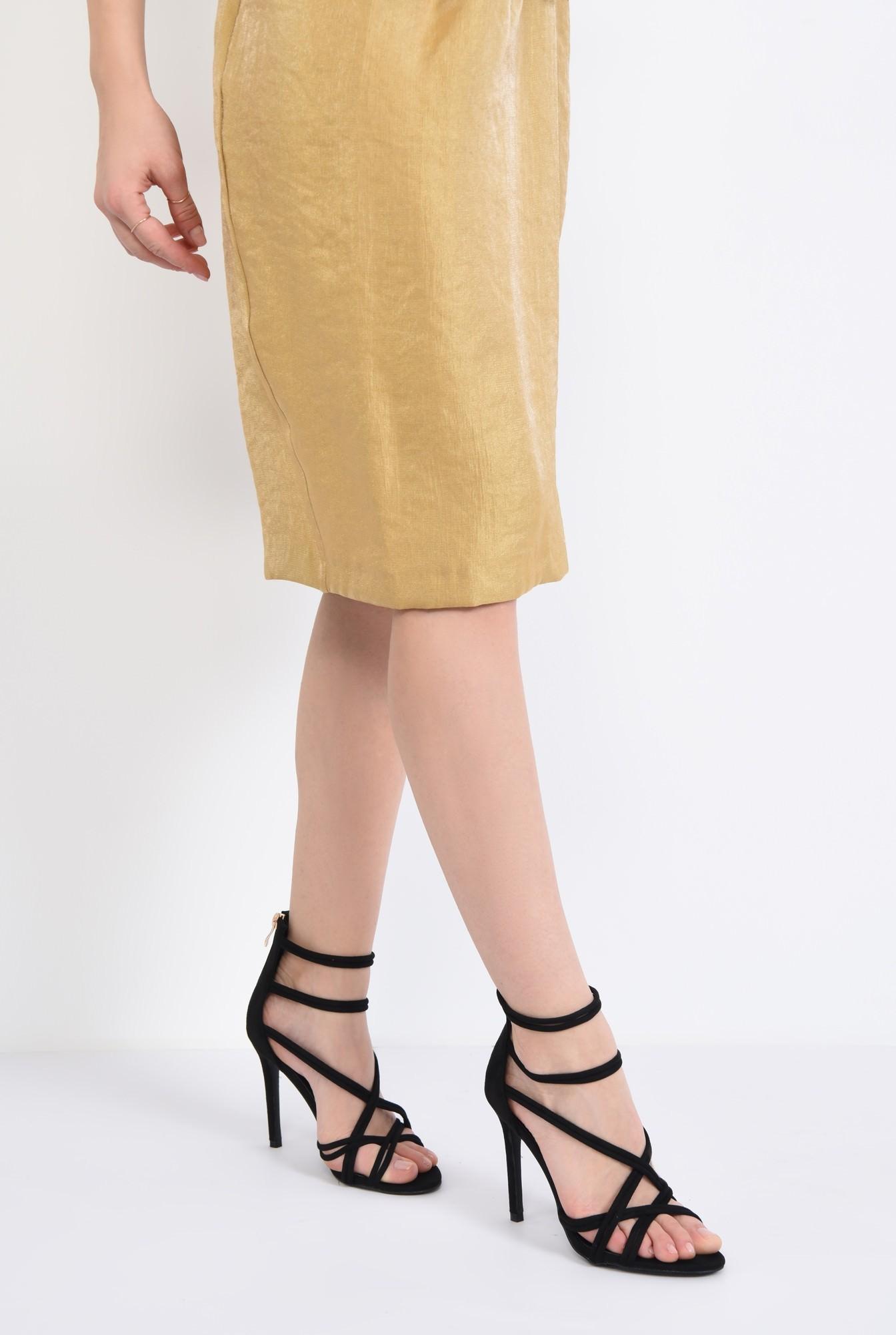 4 - sandale elegante, negre, catifea, stiletto