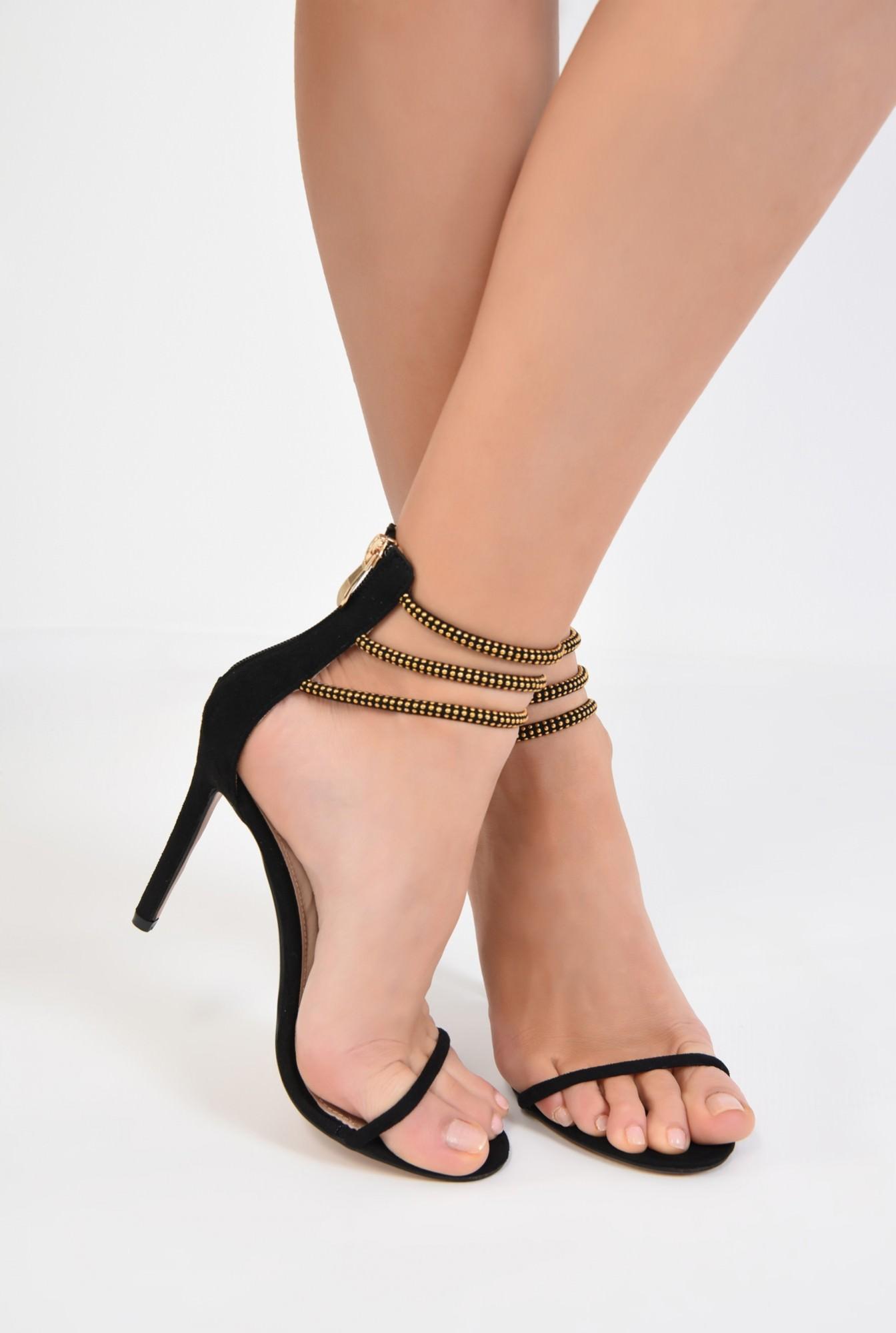 4 - sandale elegante, negre, toc inalt, barete cu aplicatii metalice