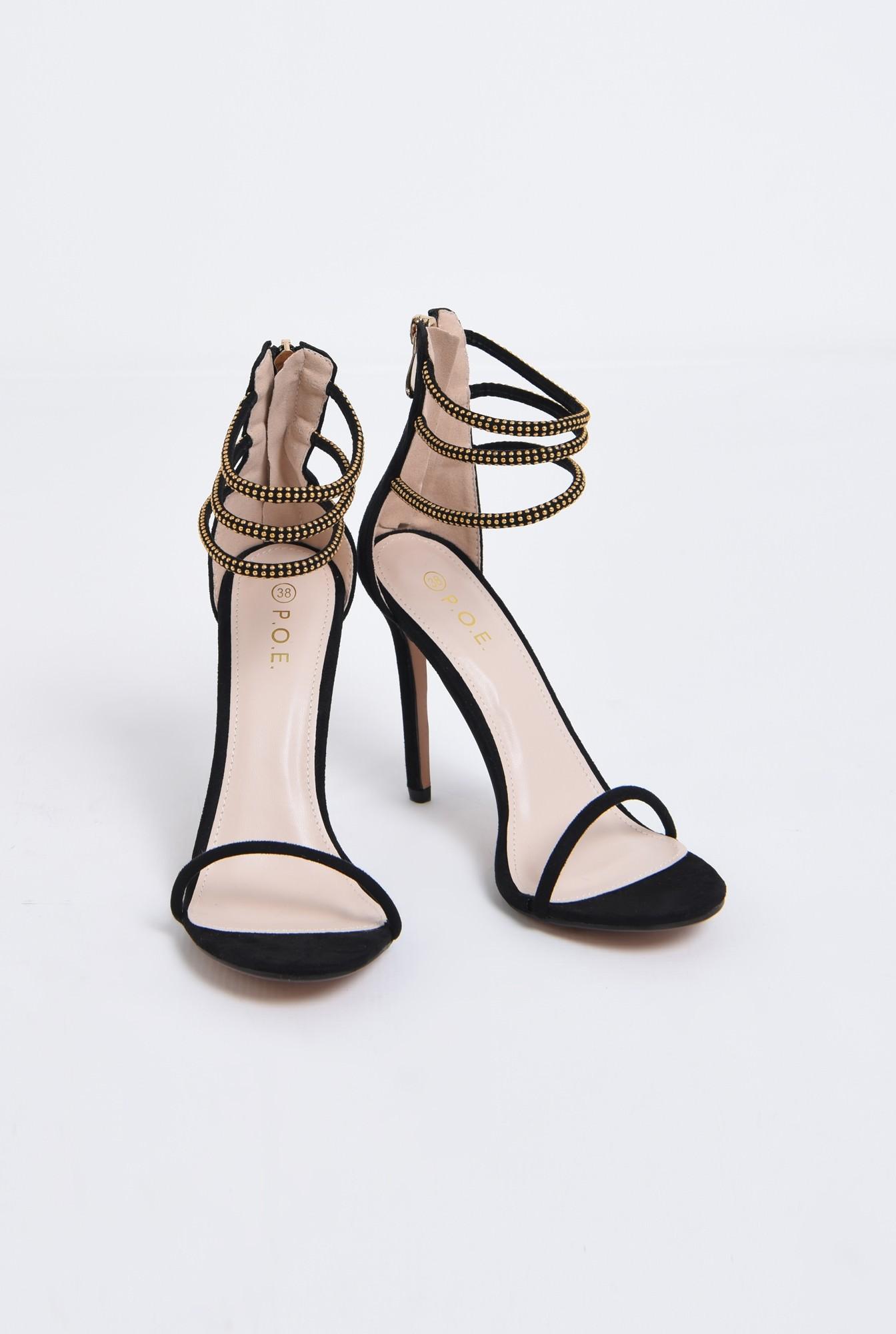 3 - sandale elegante, negre, toc inalt, barete cu aplicatii metalice