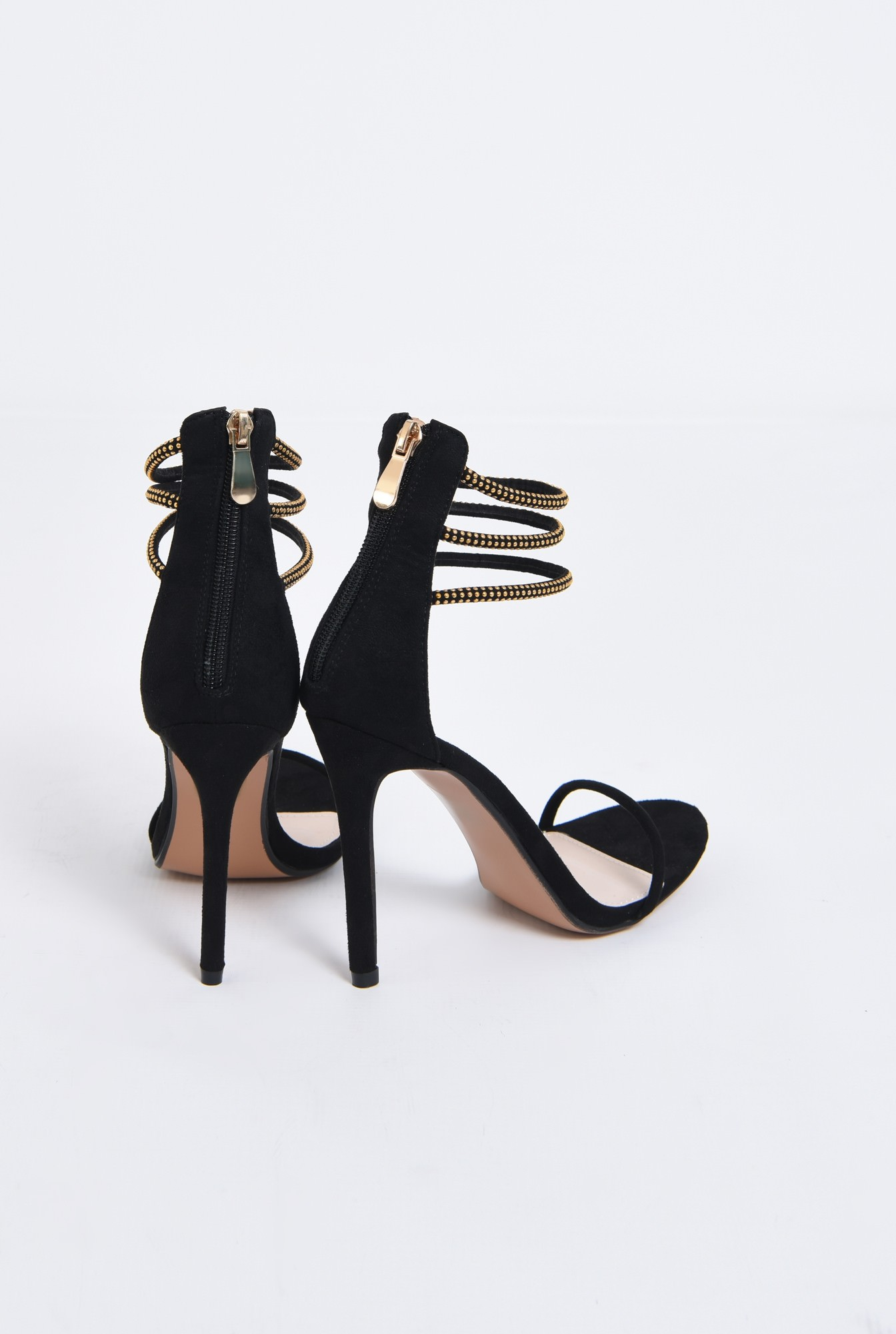 2 - sandale elegante, negre, toc inalt, barete cu aplicatii metalice