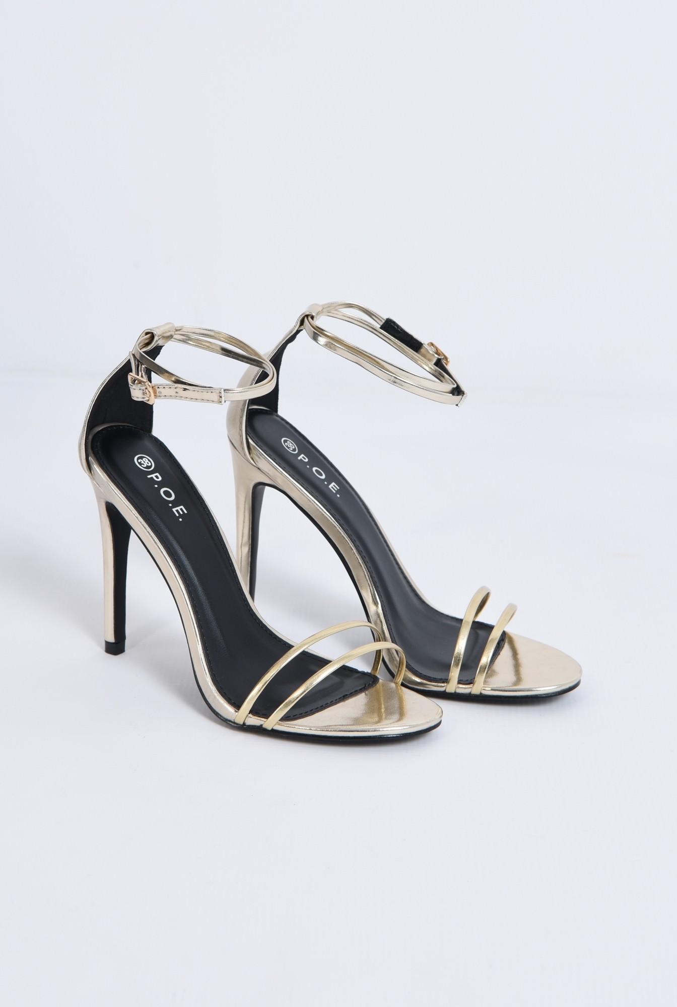 2 - sandale elegante, aurii, stiletto