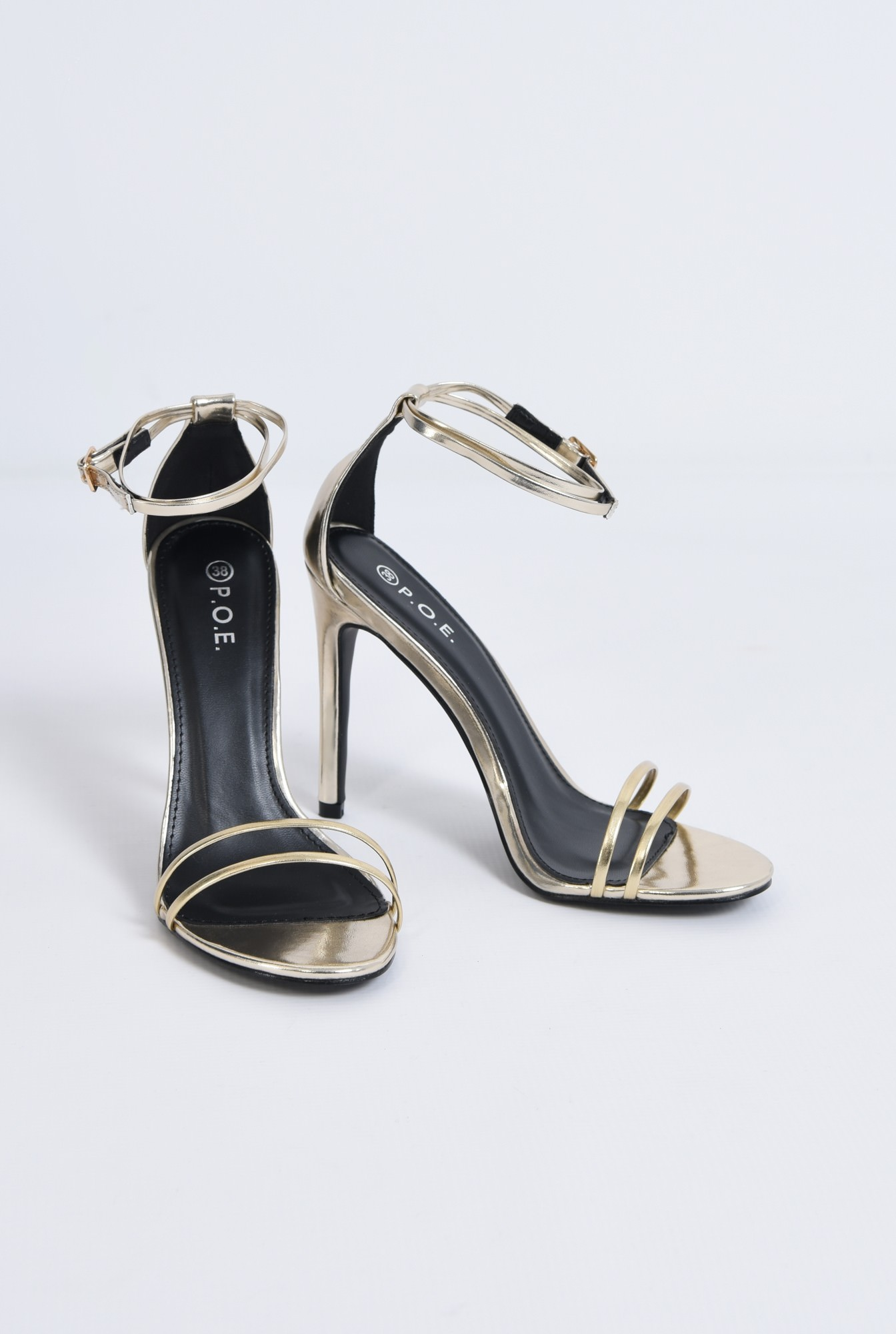 3 - sandale elegante, aurii, stiletto