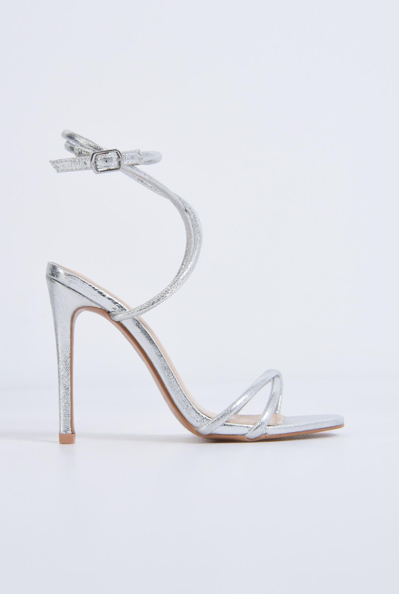 0 - sandale de seara, toc inalt, argintii