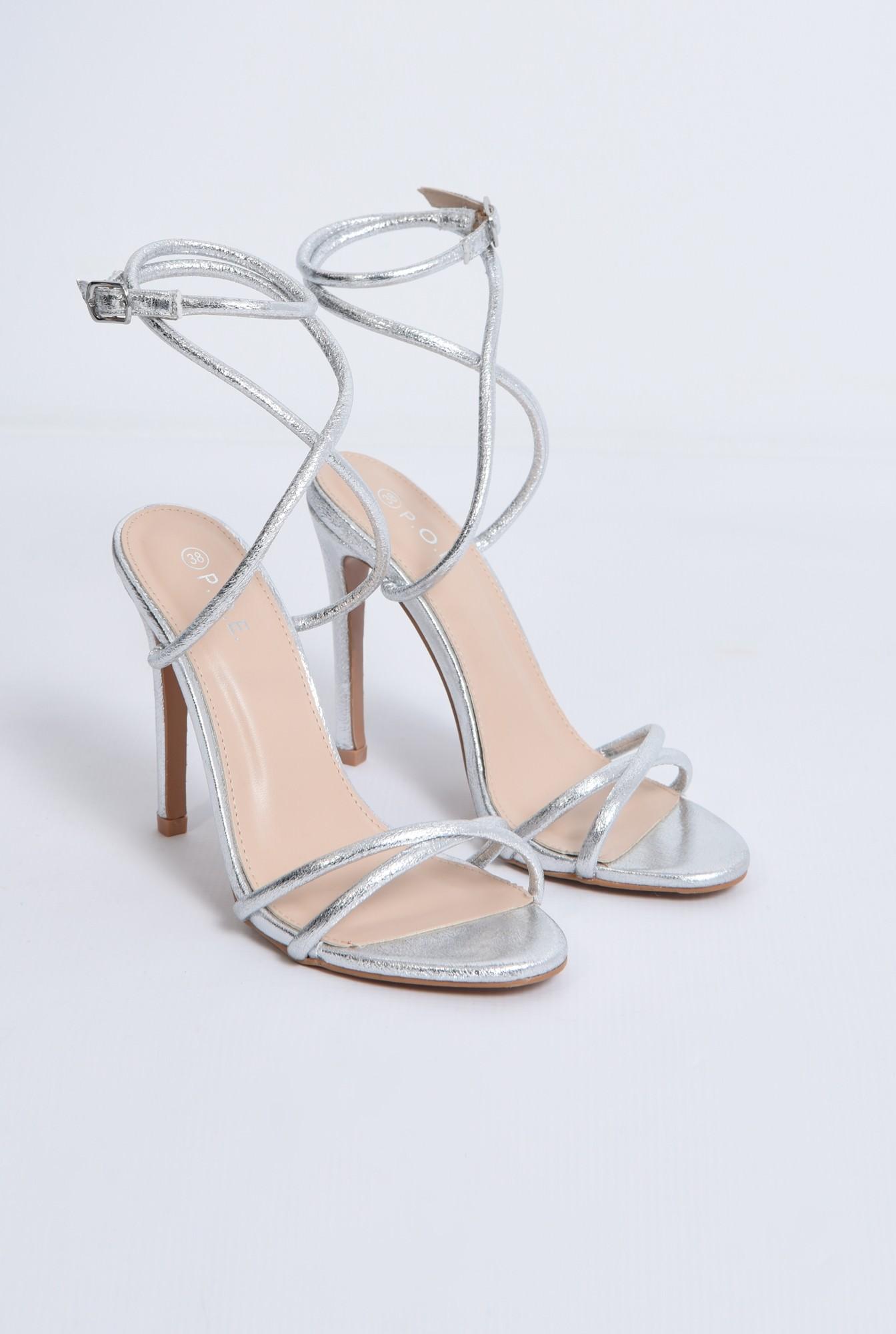 2 - sandale de seara, toc inalt, argintii