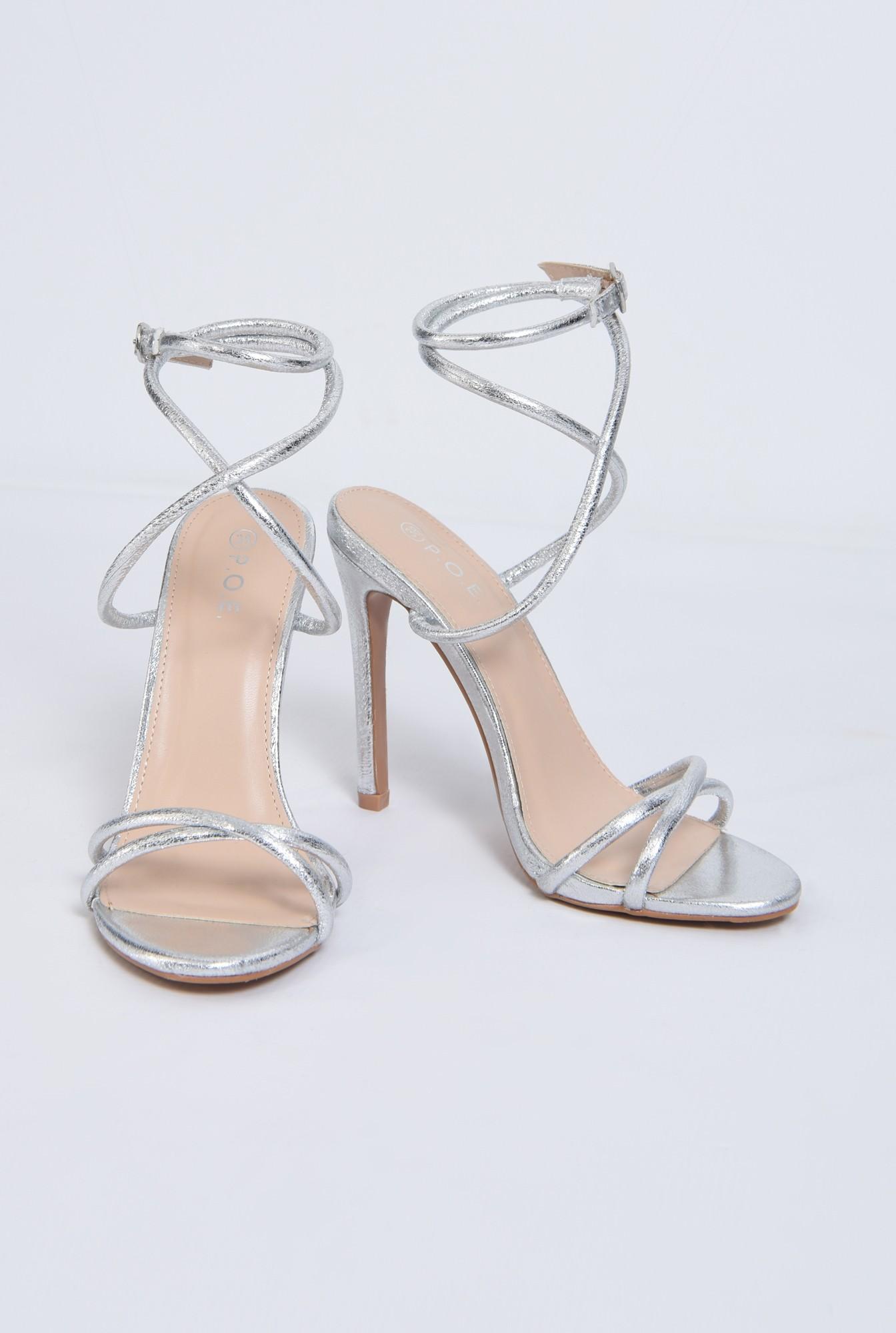 3 - sandale de seara, toc inalt, argintii