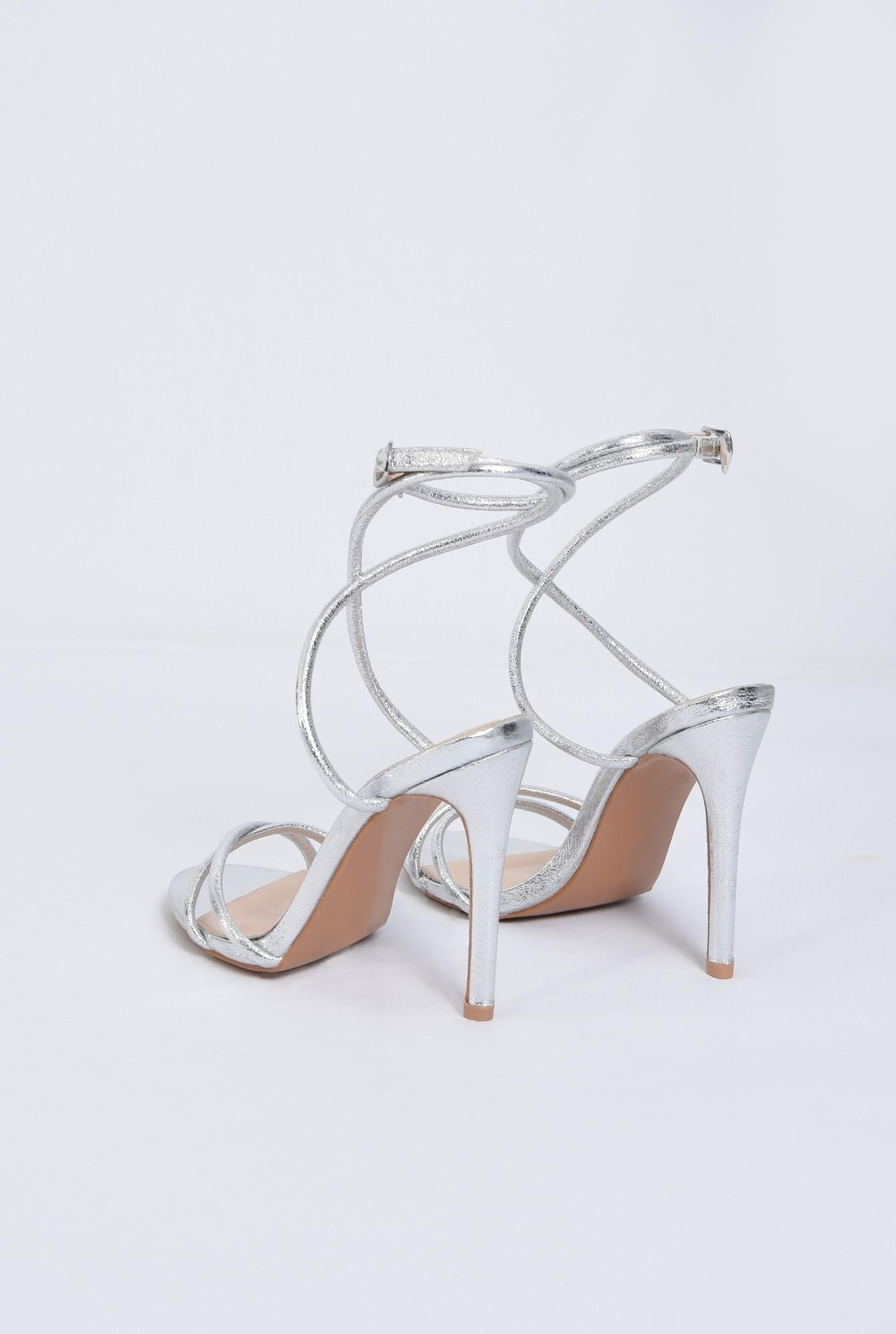 4 - sandale de seara, toc inalt, argintii