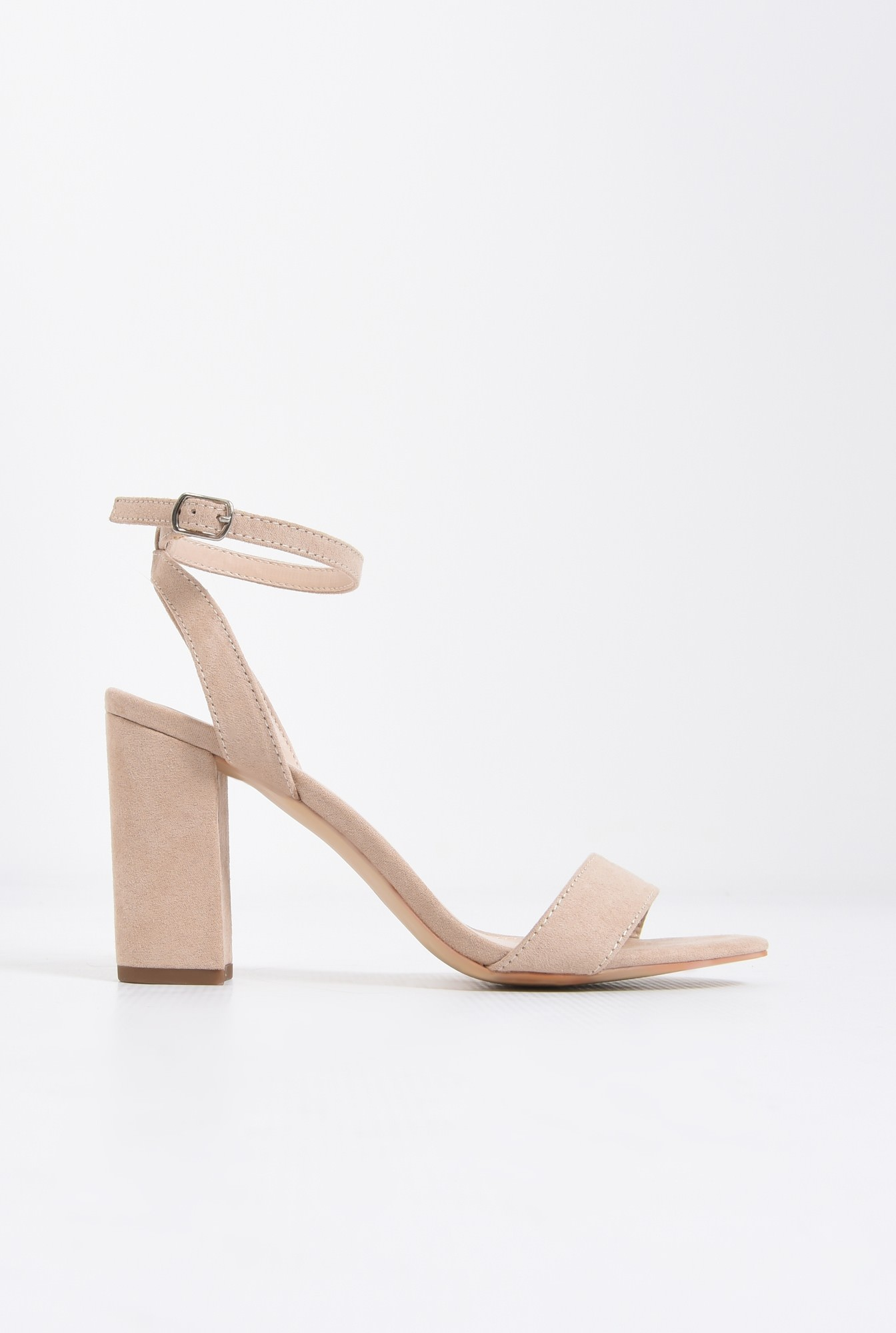 0 - sandale elegante, crem, toc gros, piele intoarsa eco