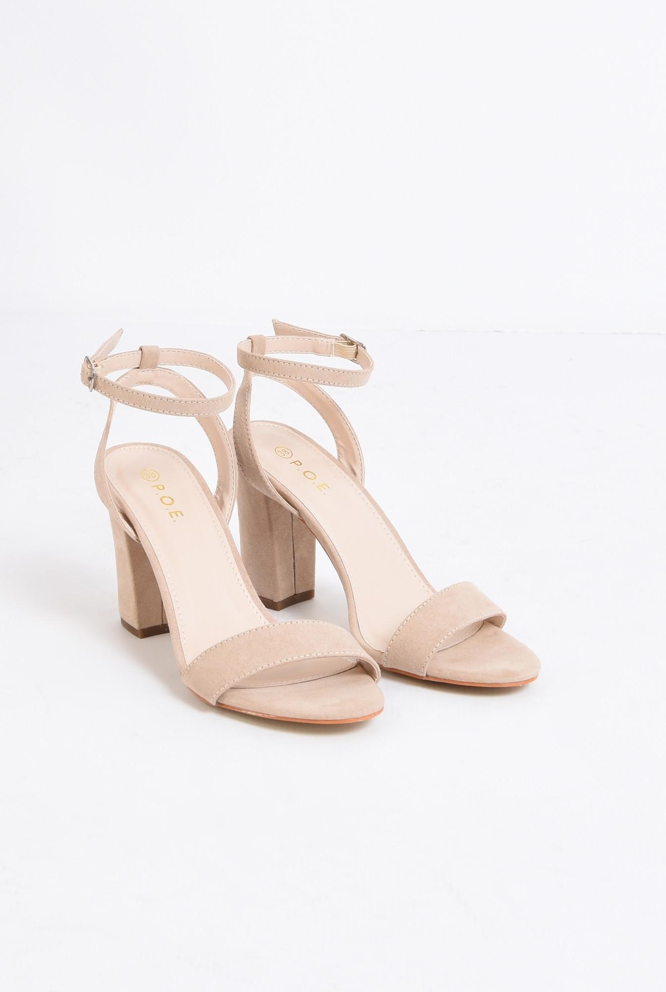 1 - sandale elegante, crem, toc gros, piele intoarsa eco