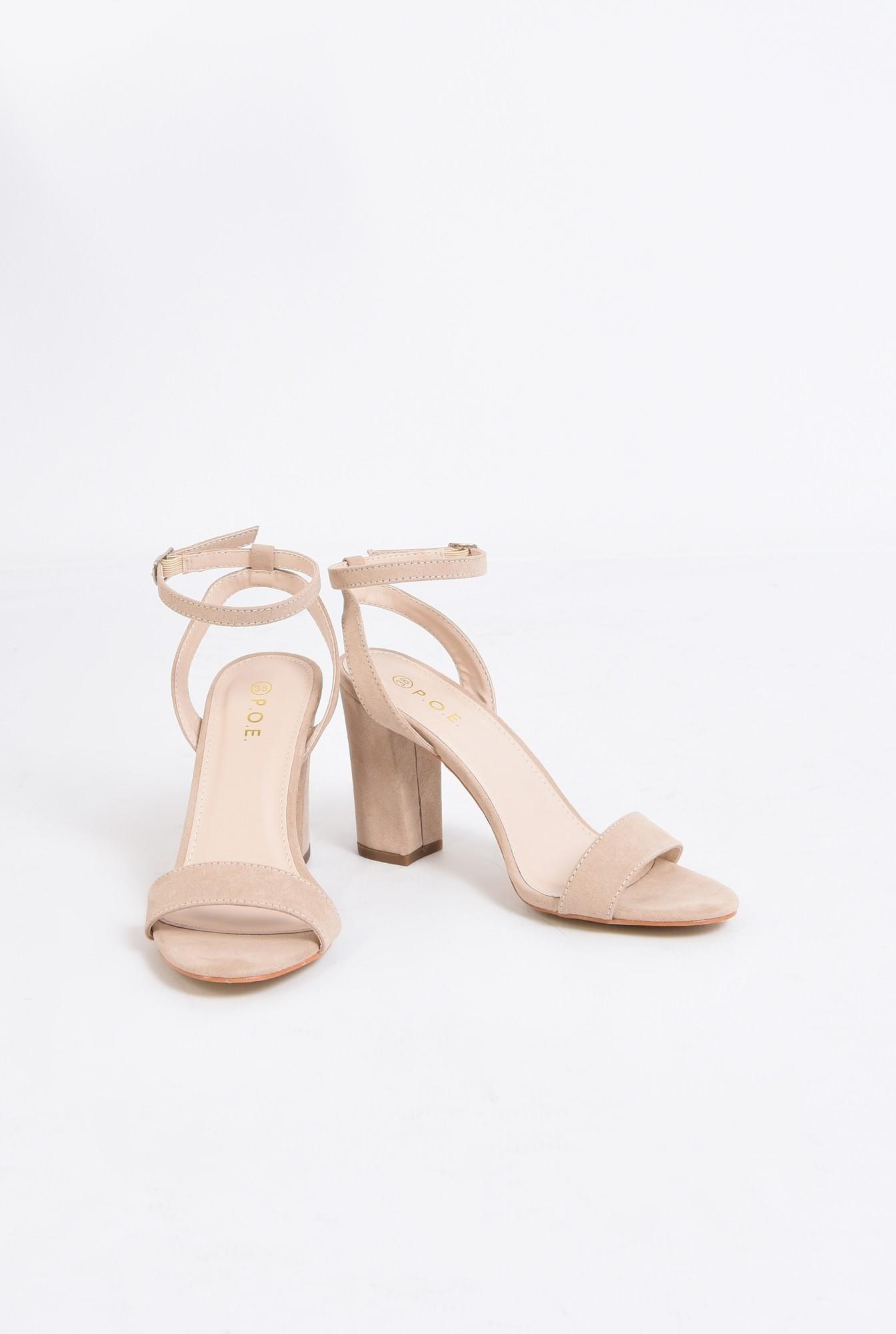 3 - sandale elegante, crem, toc gros, piele intoarsa eco