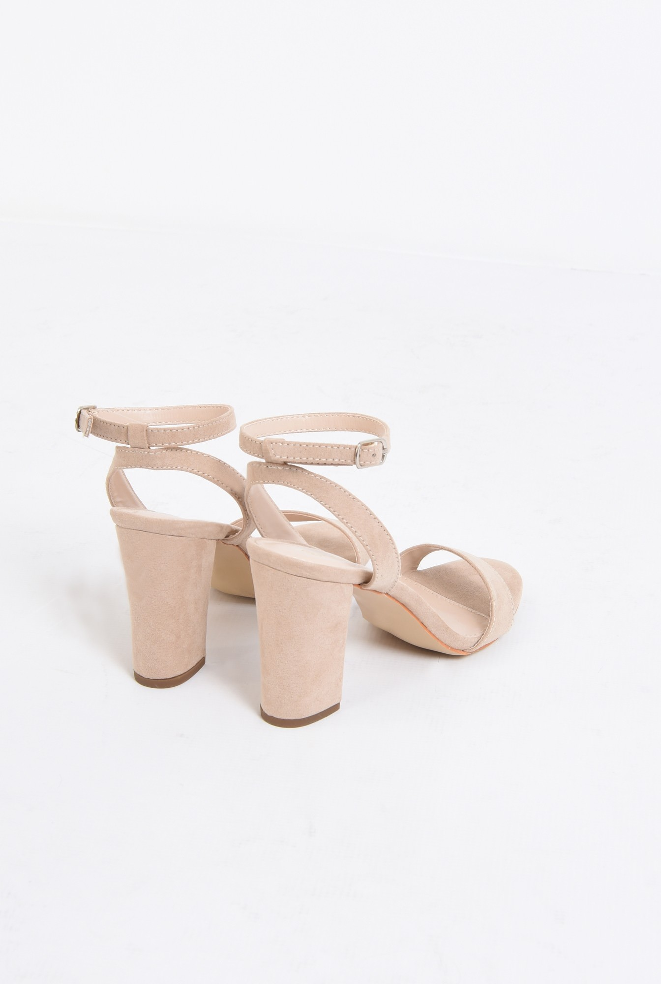 2 - sandale elegante, crem, toc gros, piele intoarsa eco