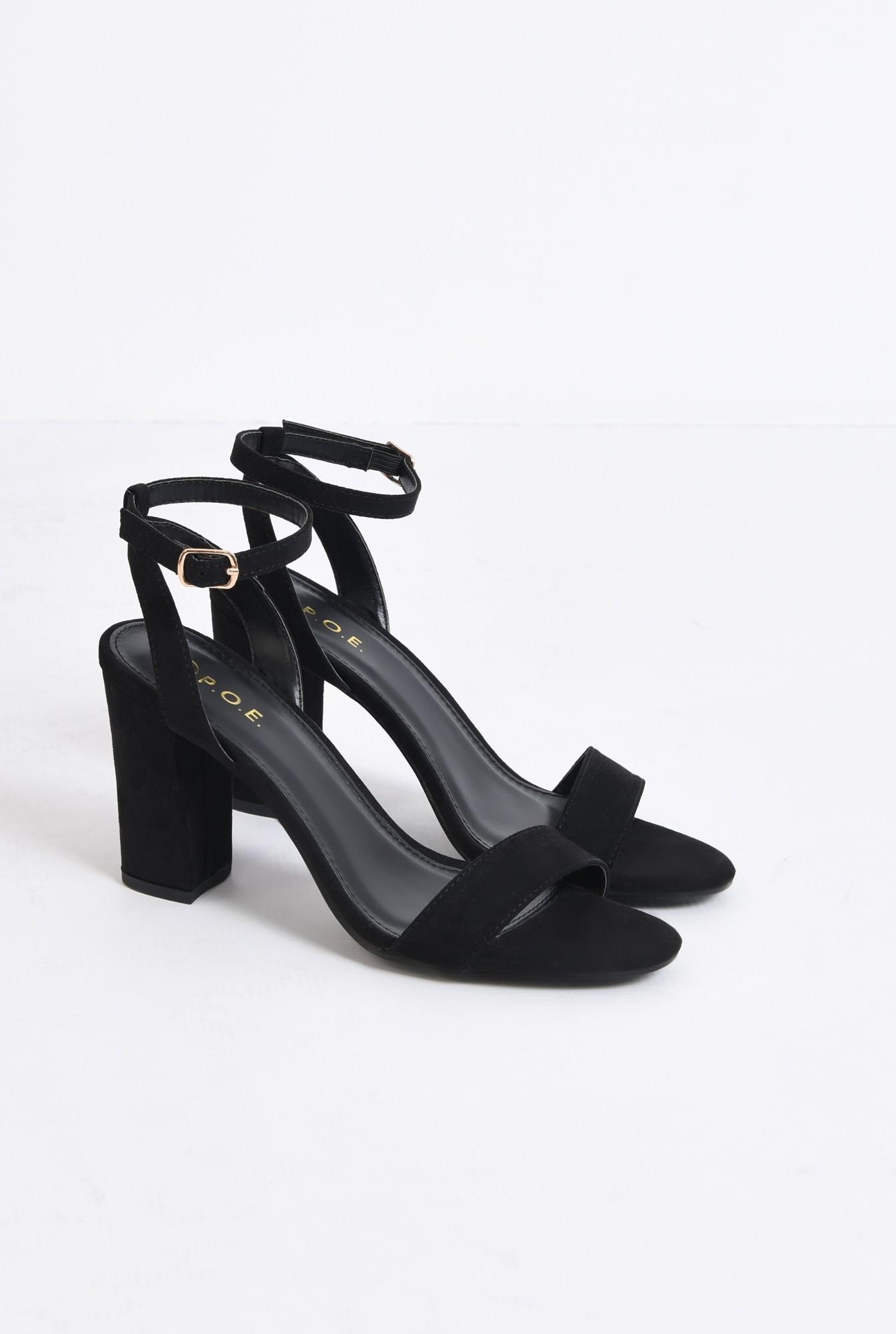 1 - sandale elegante, negre, din catifea, toc gros