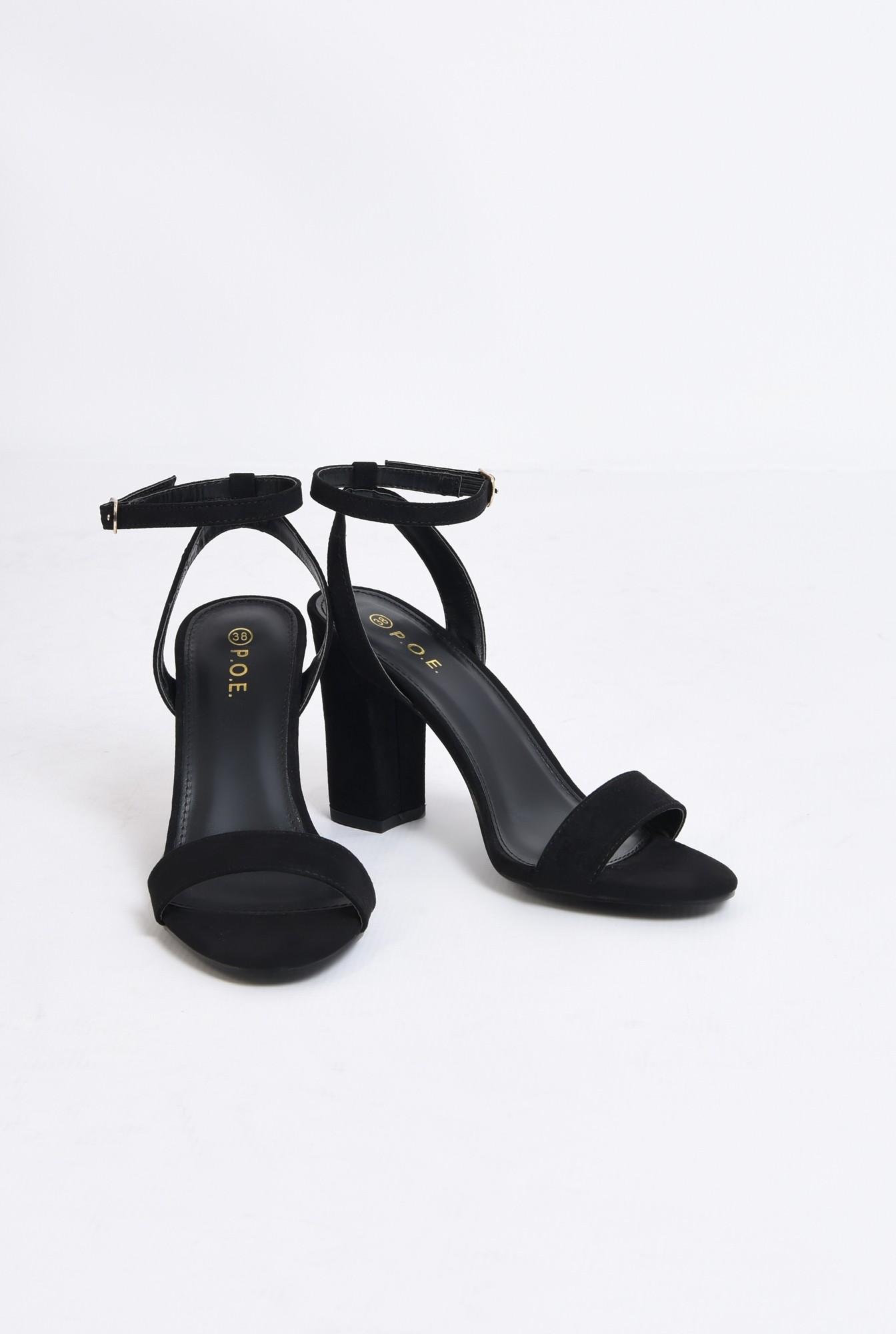 3 - sandale elegante, negre, din catifea, toc gros