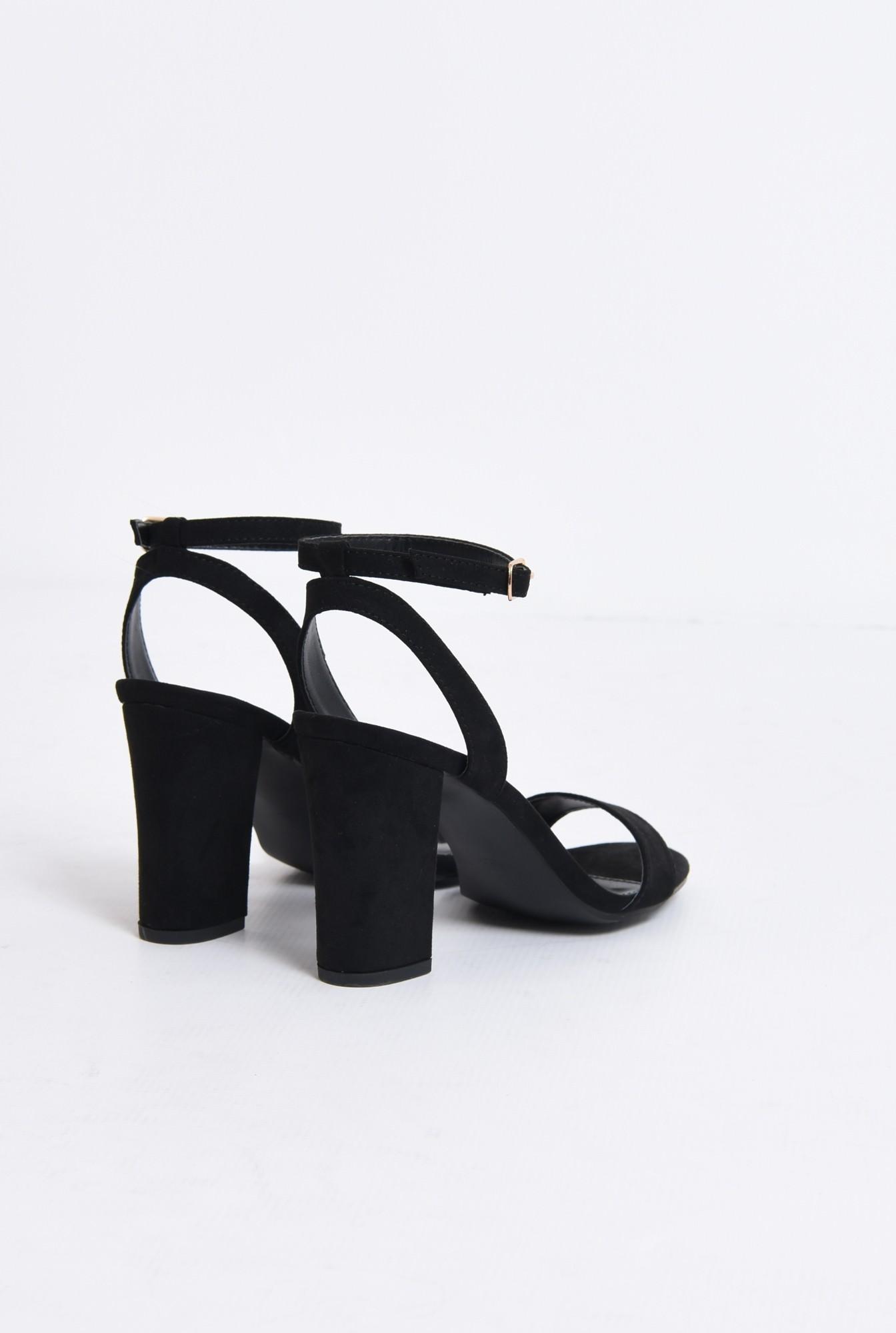 2 - sandale elegante, negre, din catifea, toc gros