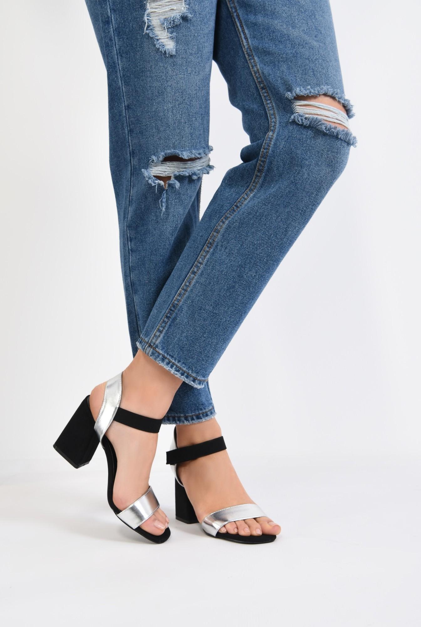 4 - sandale casual, bicolore, negru, argintiu, inchidere cu scai