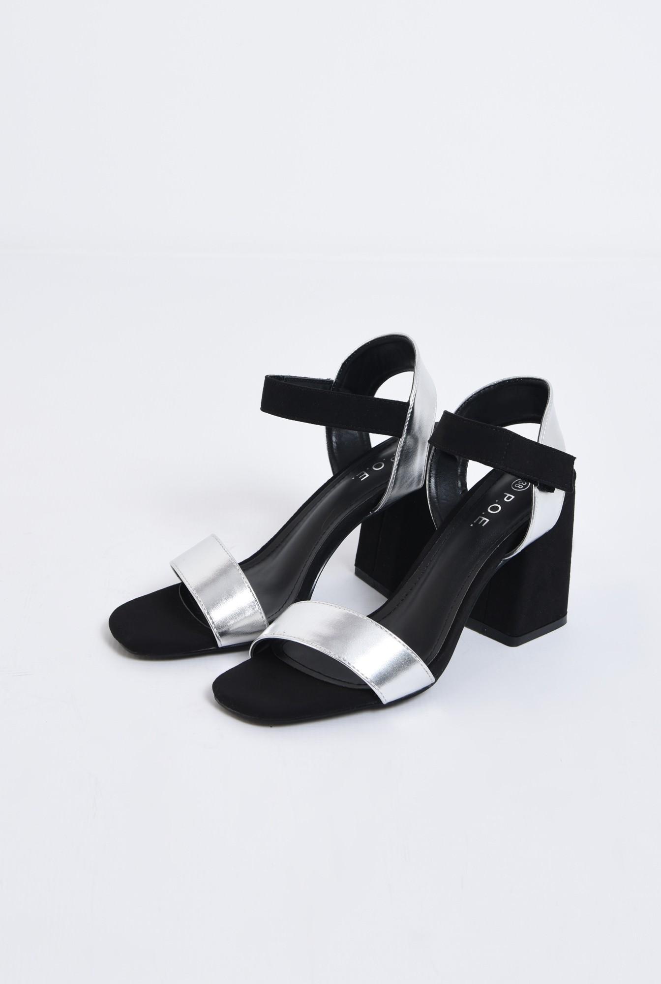 1 - sandale casual, bicolore, negru, argintiu, inchidere cu scai