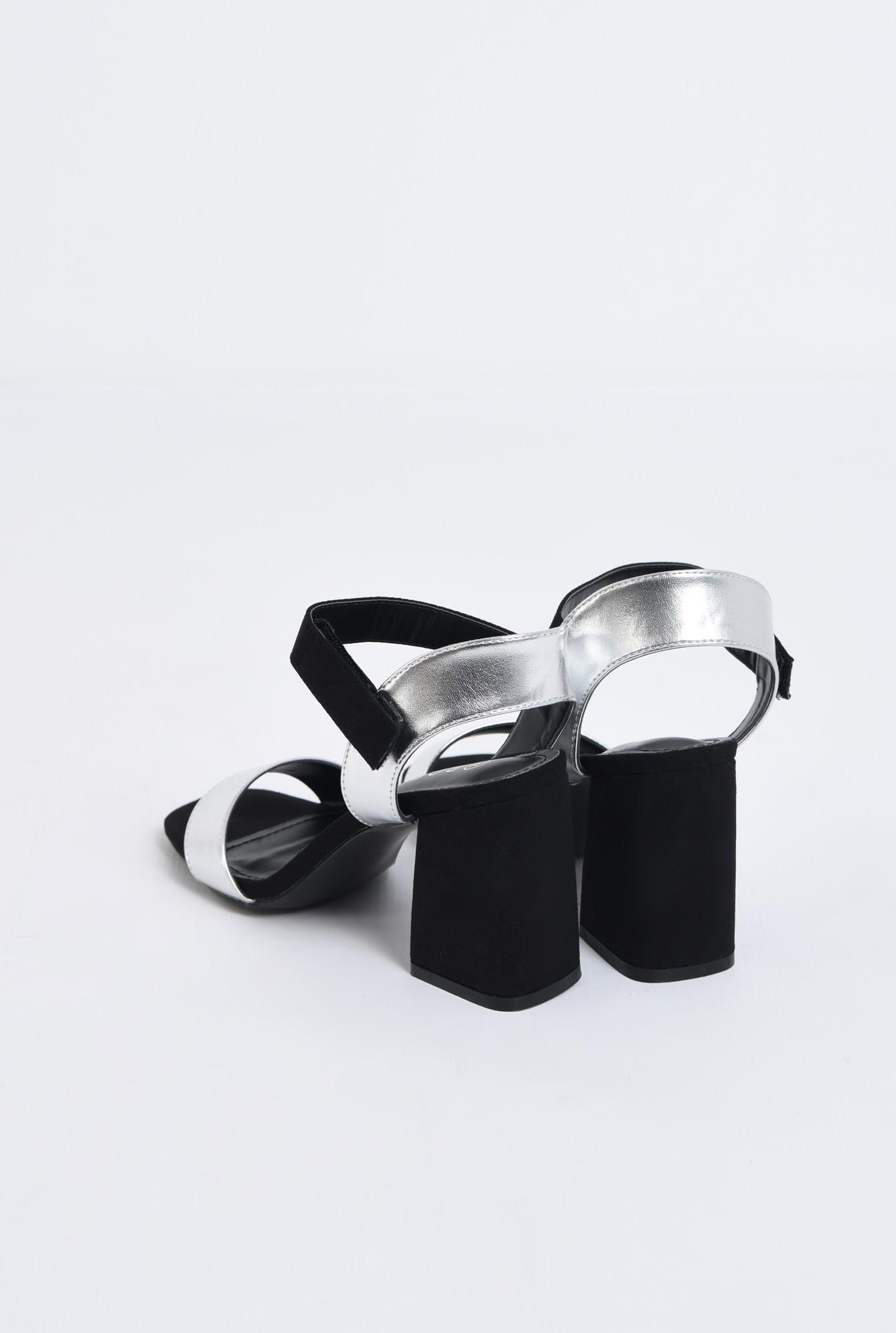 3 - sandale casual, bicolore, negru, argintiu, inchidere cu scai