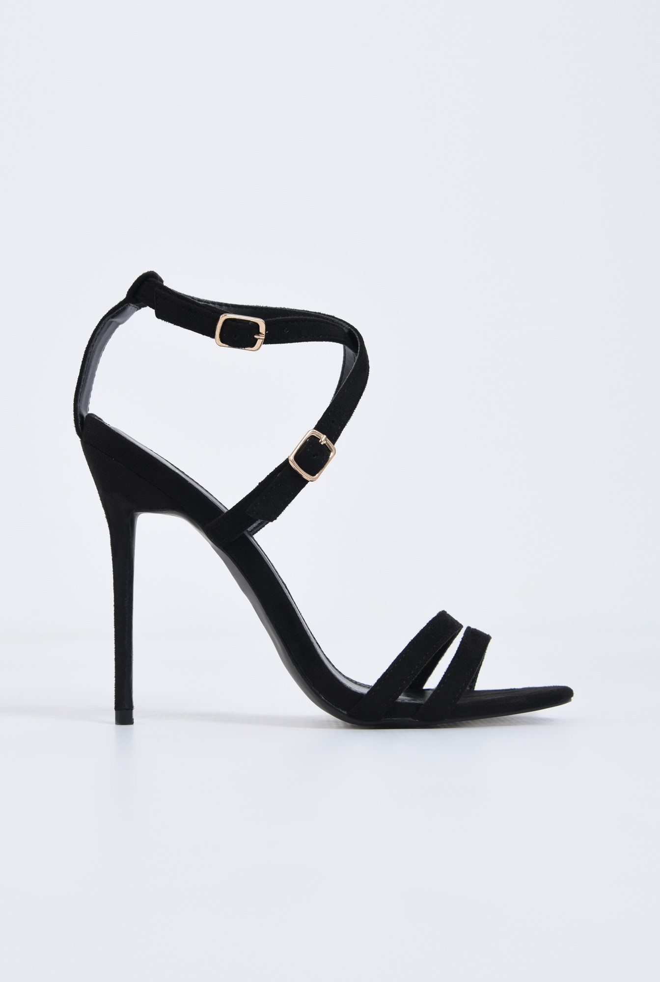 0 - sandale elegante, negru, stiletto, catifea