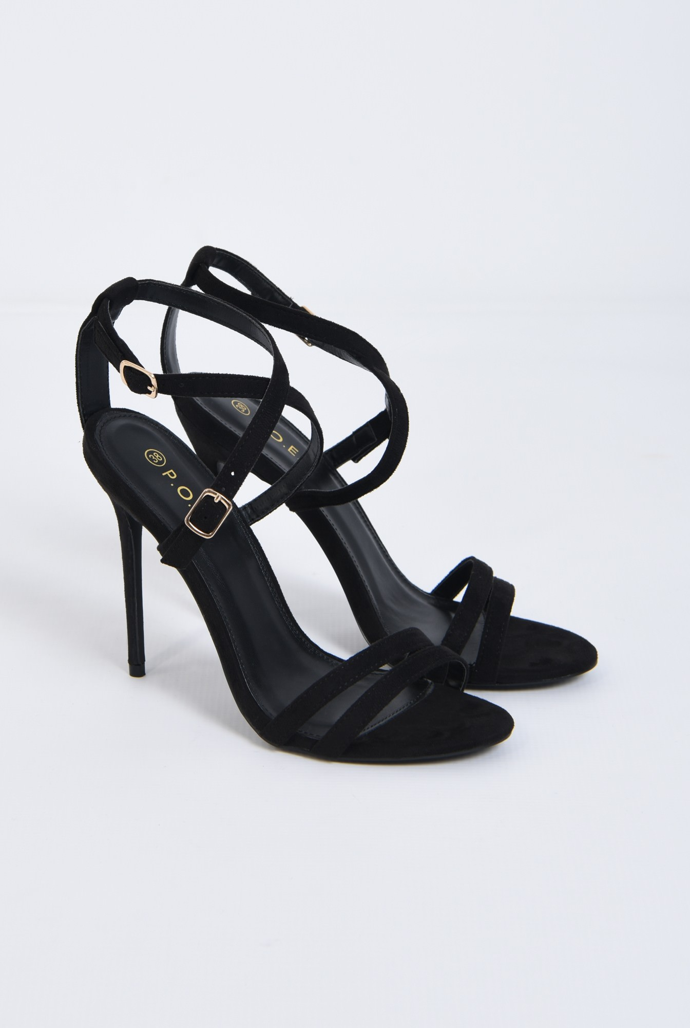 2 - sandale elegante, negru, stiletto, catifea