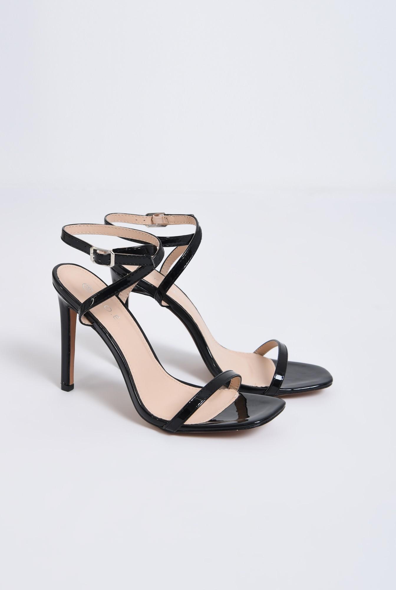 1 - sandale elegante, din lac, negre, toc cui