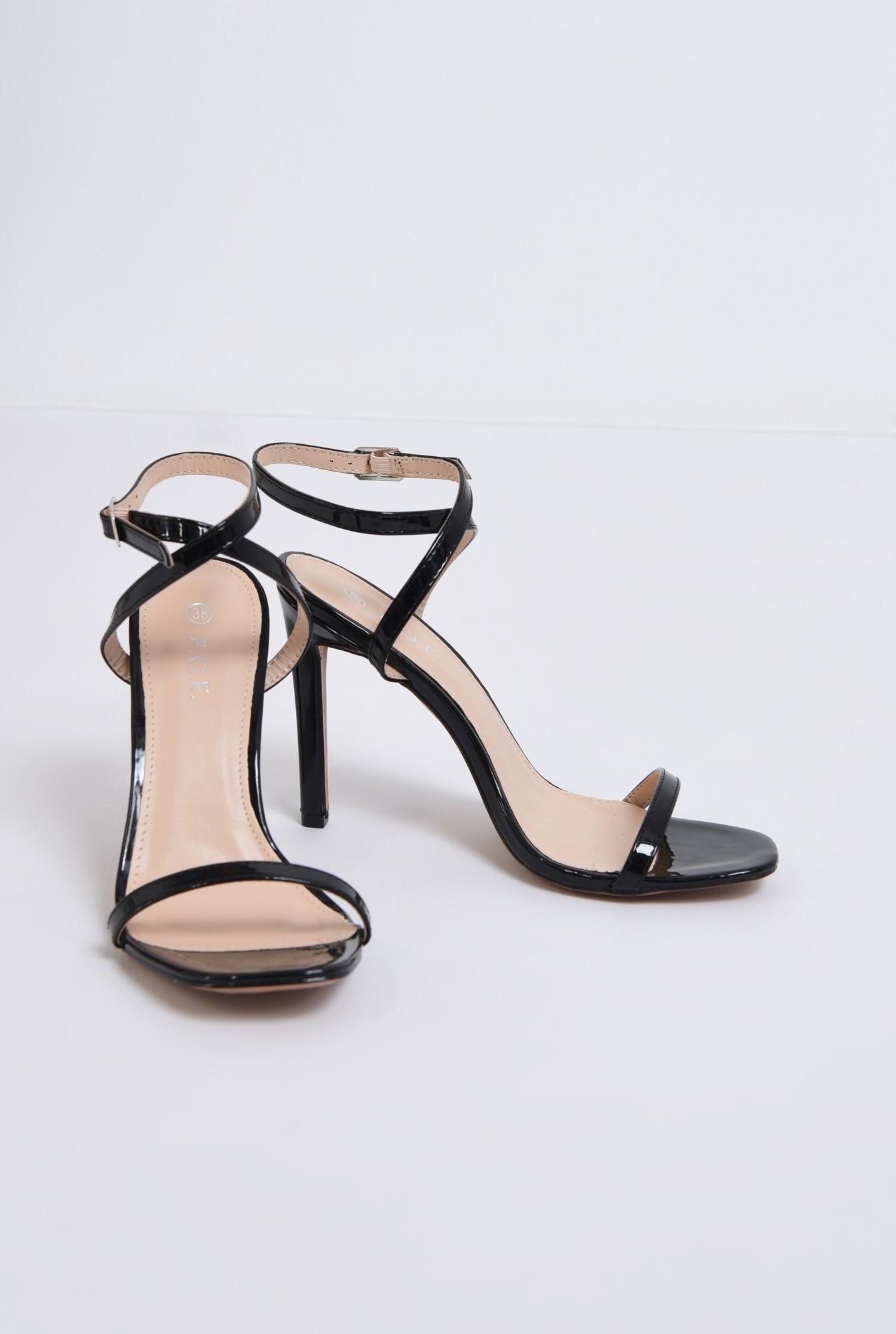 3 - sandale elegante, din lac, negre, toc cui