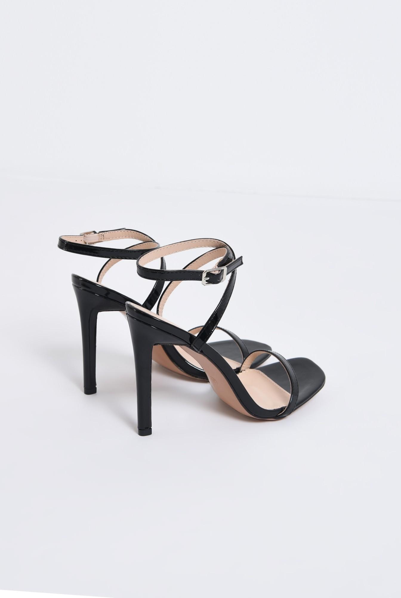 2 - sandale elegante, din lac, negre, toc cui
