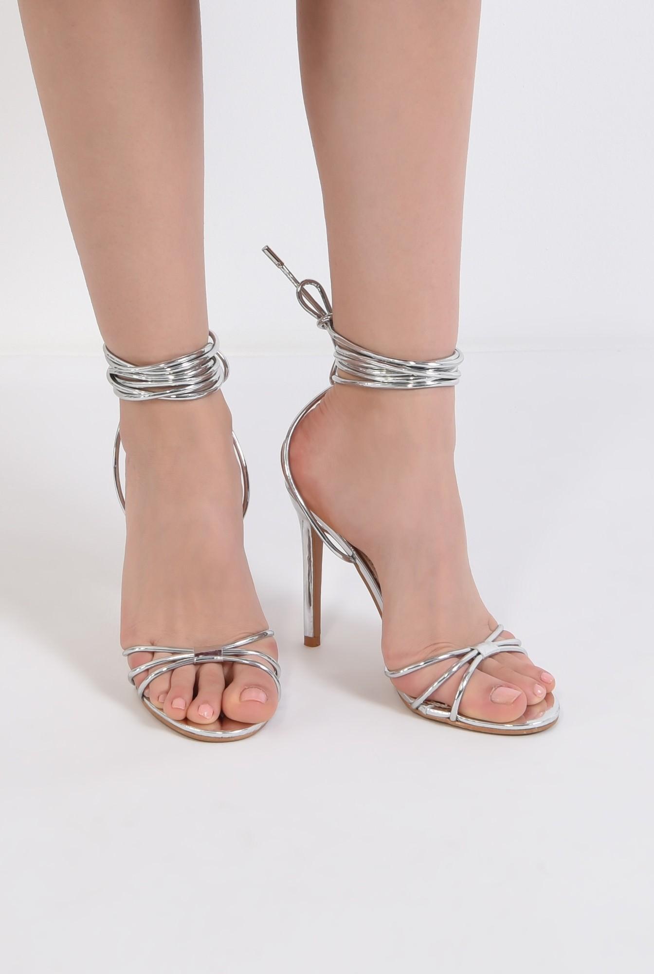 1 - sandale elegante, argintii, cu snur, stiletto