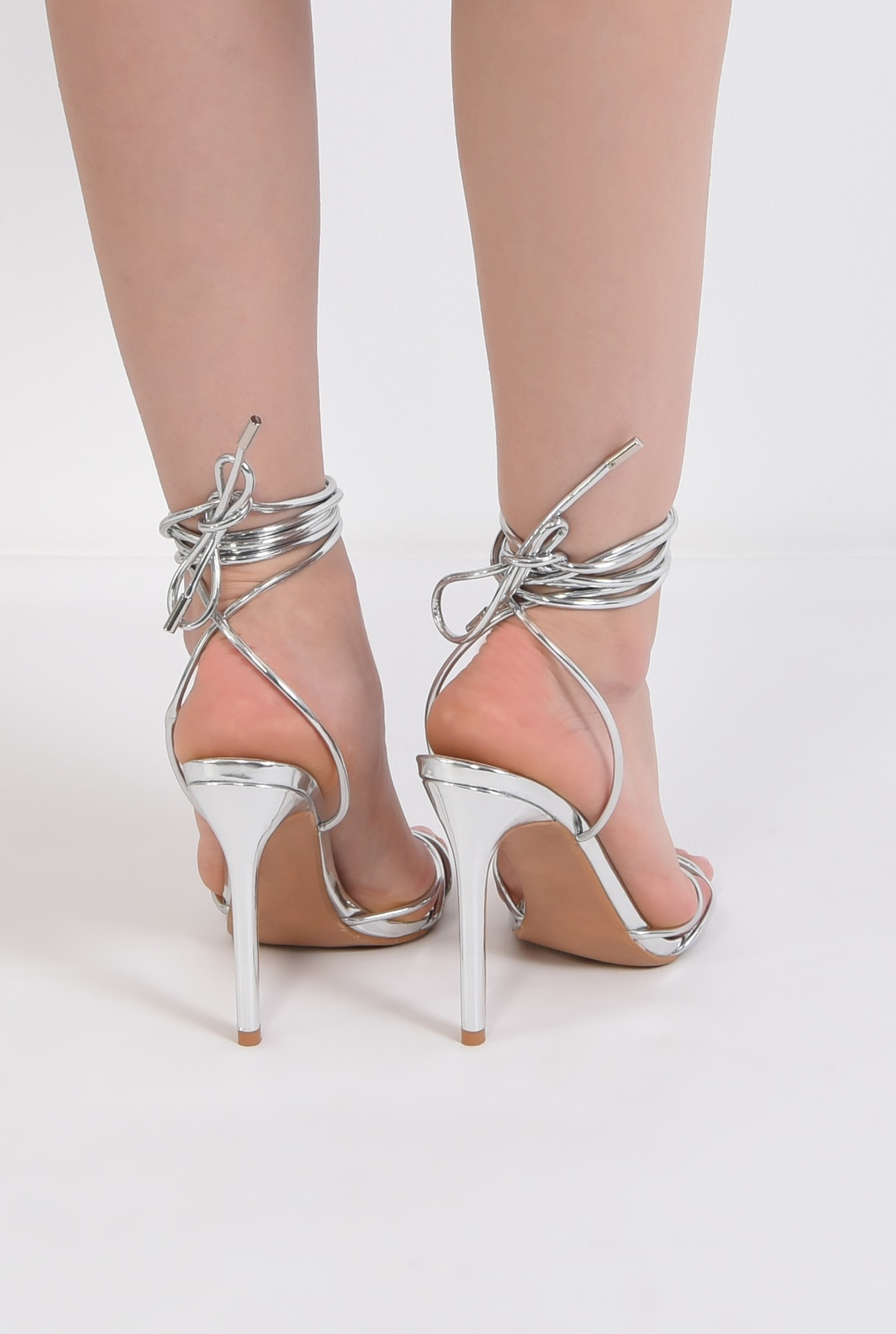 2 - sandale elegante, argintii, cu snur, stiletto