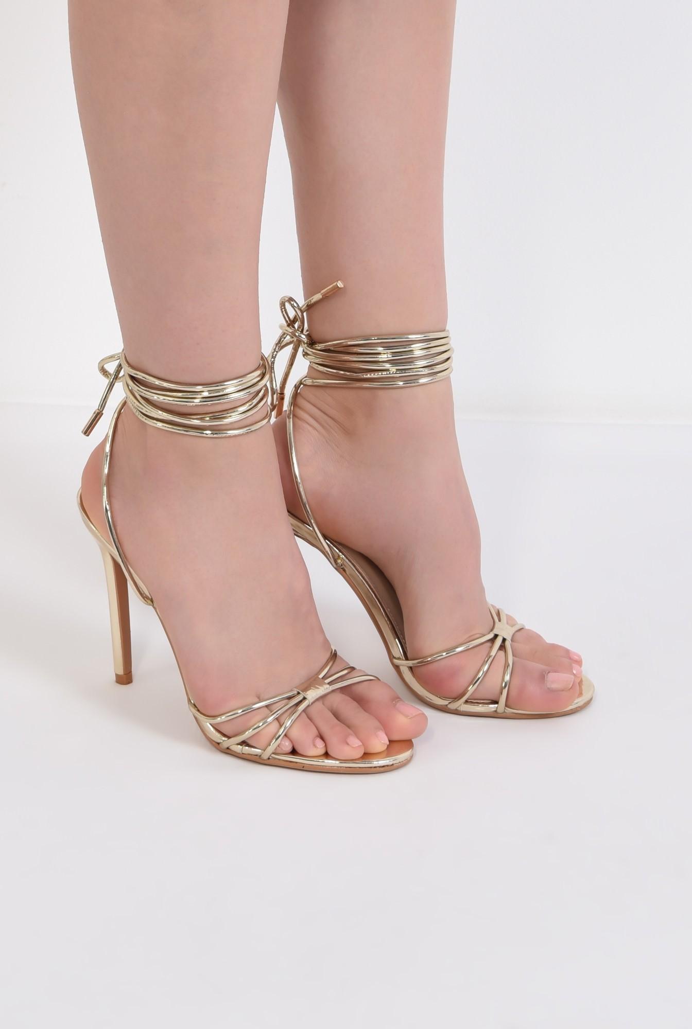 1 - sandale aurii, de ocazie, barete, snur, stiletto