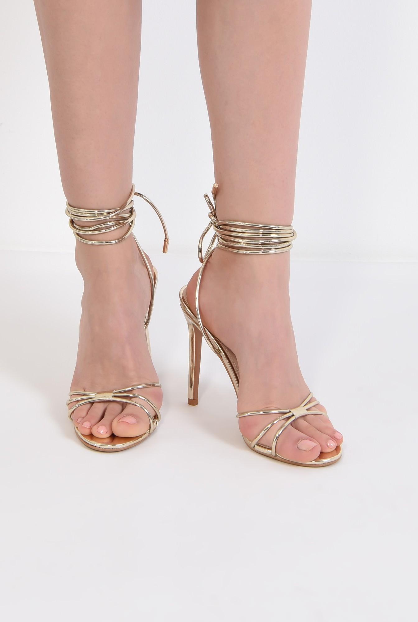3 - sandale aurii, de ocazie, barete, snur, stiletto