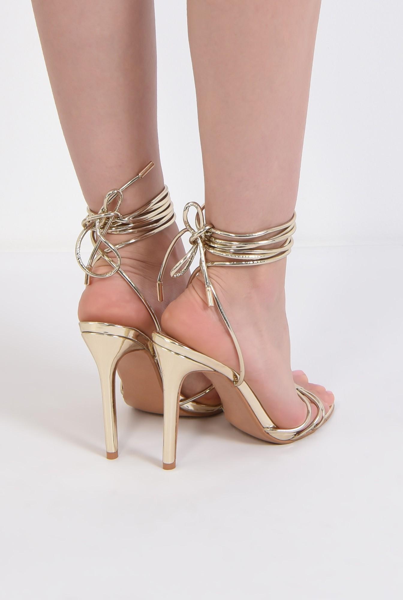 2 - sandale aurii, de ocazie, barete, snur, stiletto