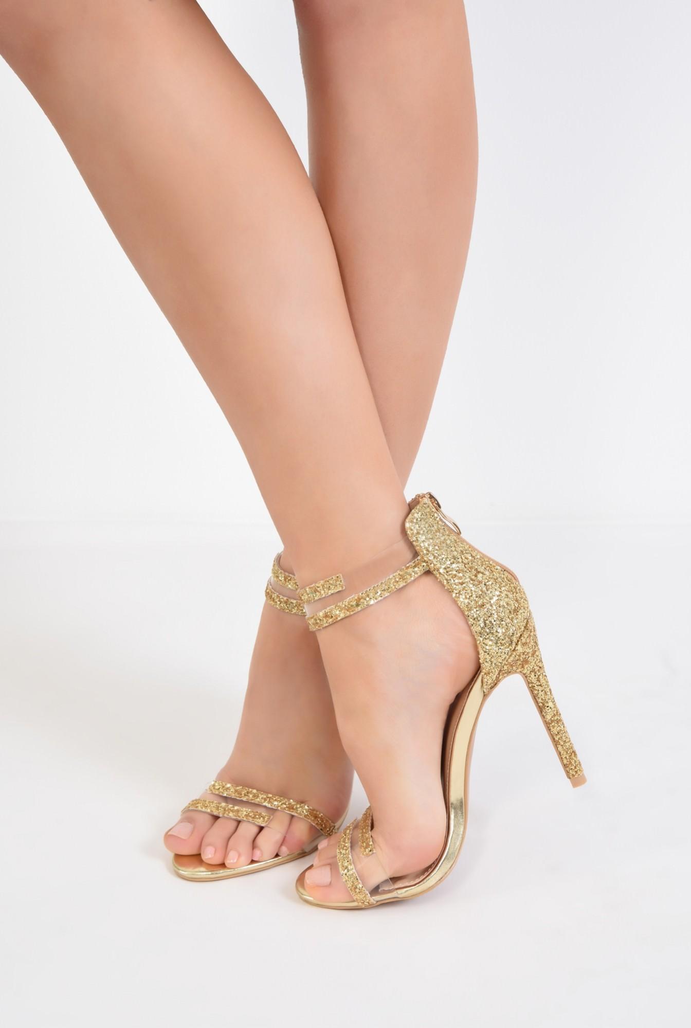 4 - sandale elegante, aurii, cu glitter, toc inalt