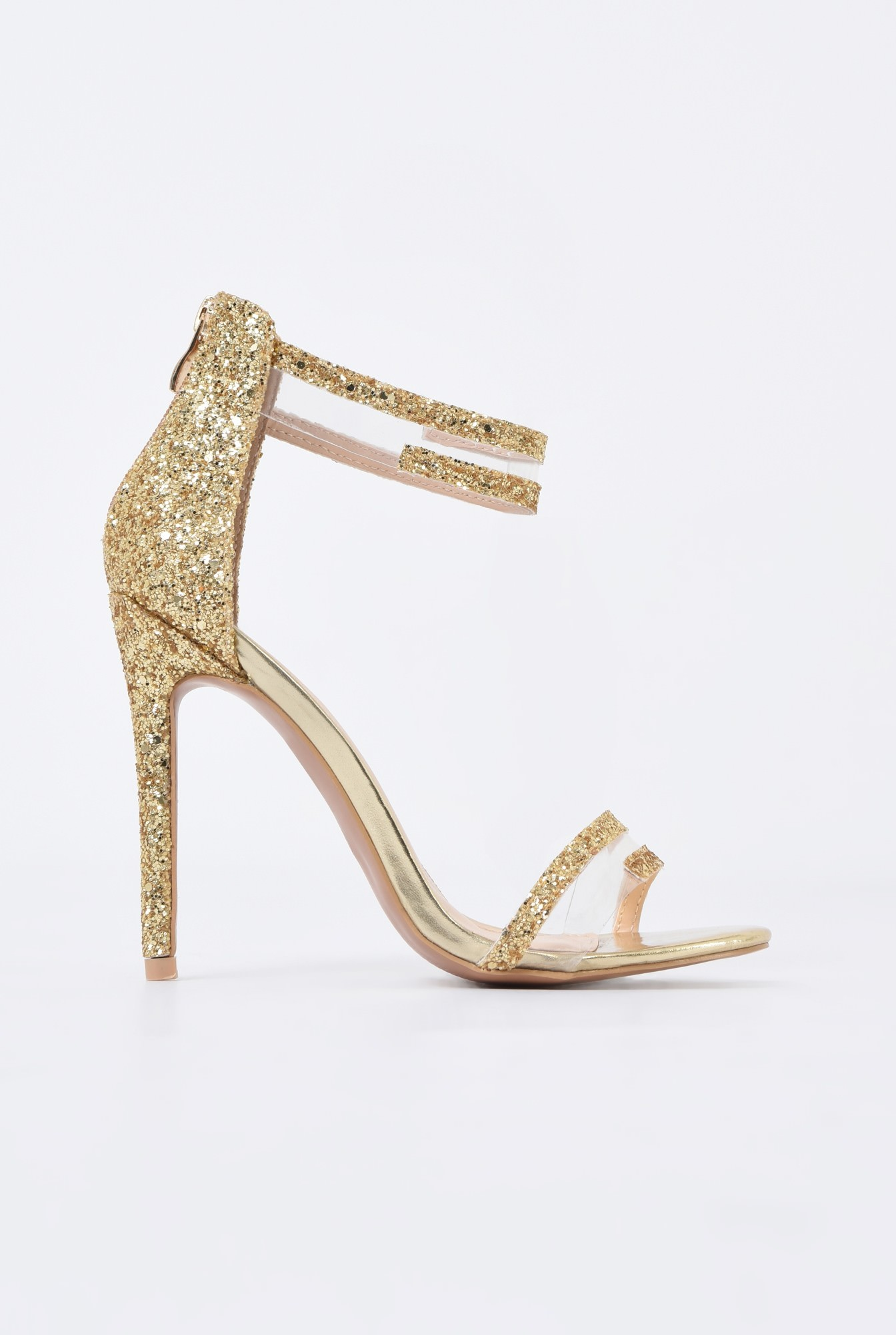 0 - sandale elegante, aurii, cu glitter, toc inalt